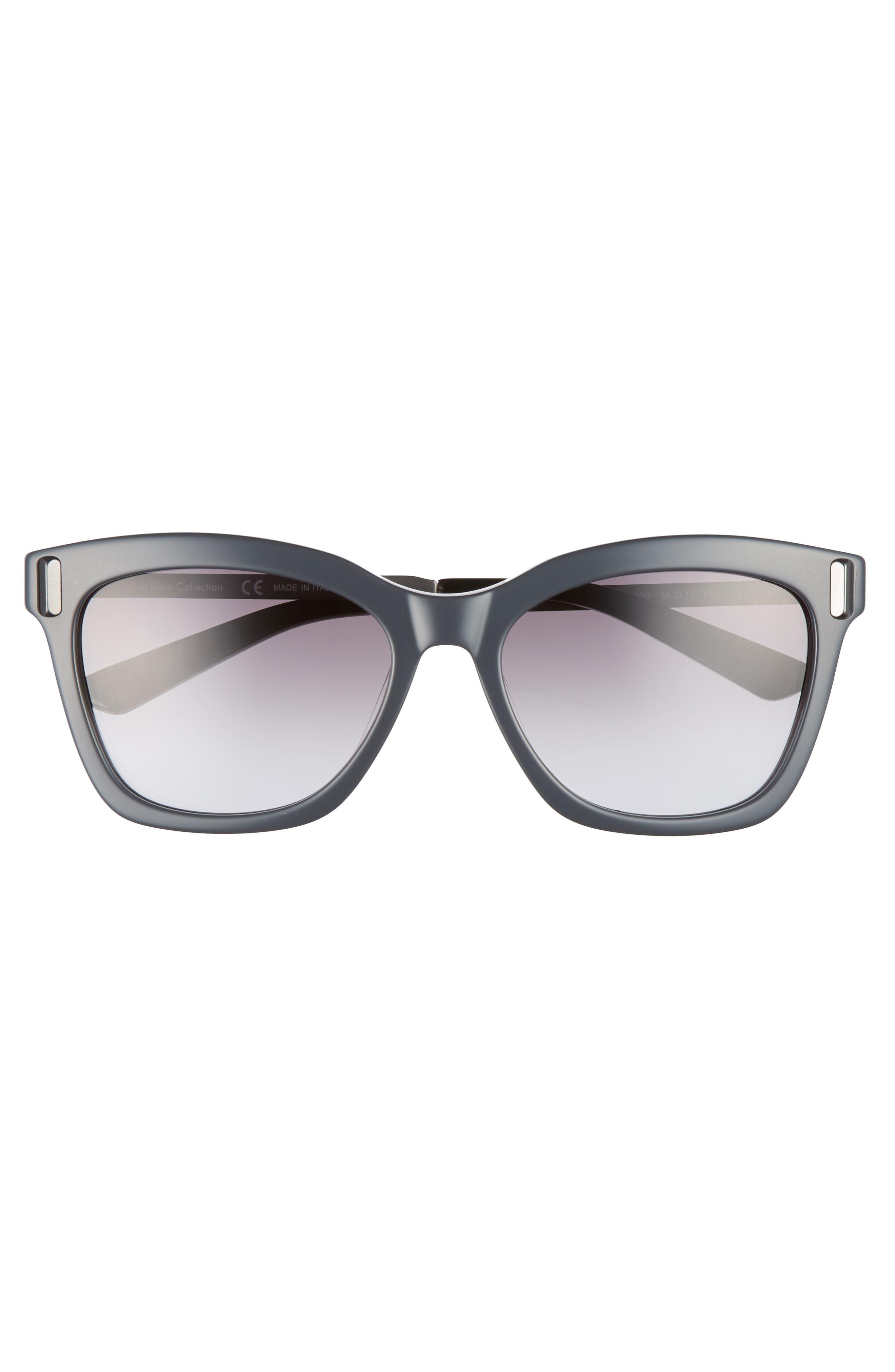 55mm Square Sunglasses,                             Alternate thumbnail 3, color,                             Jet/ Black