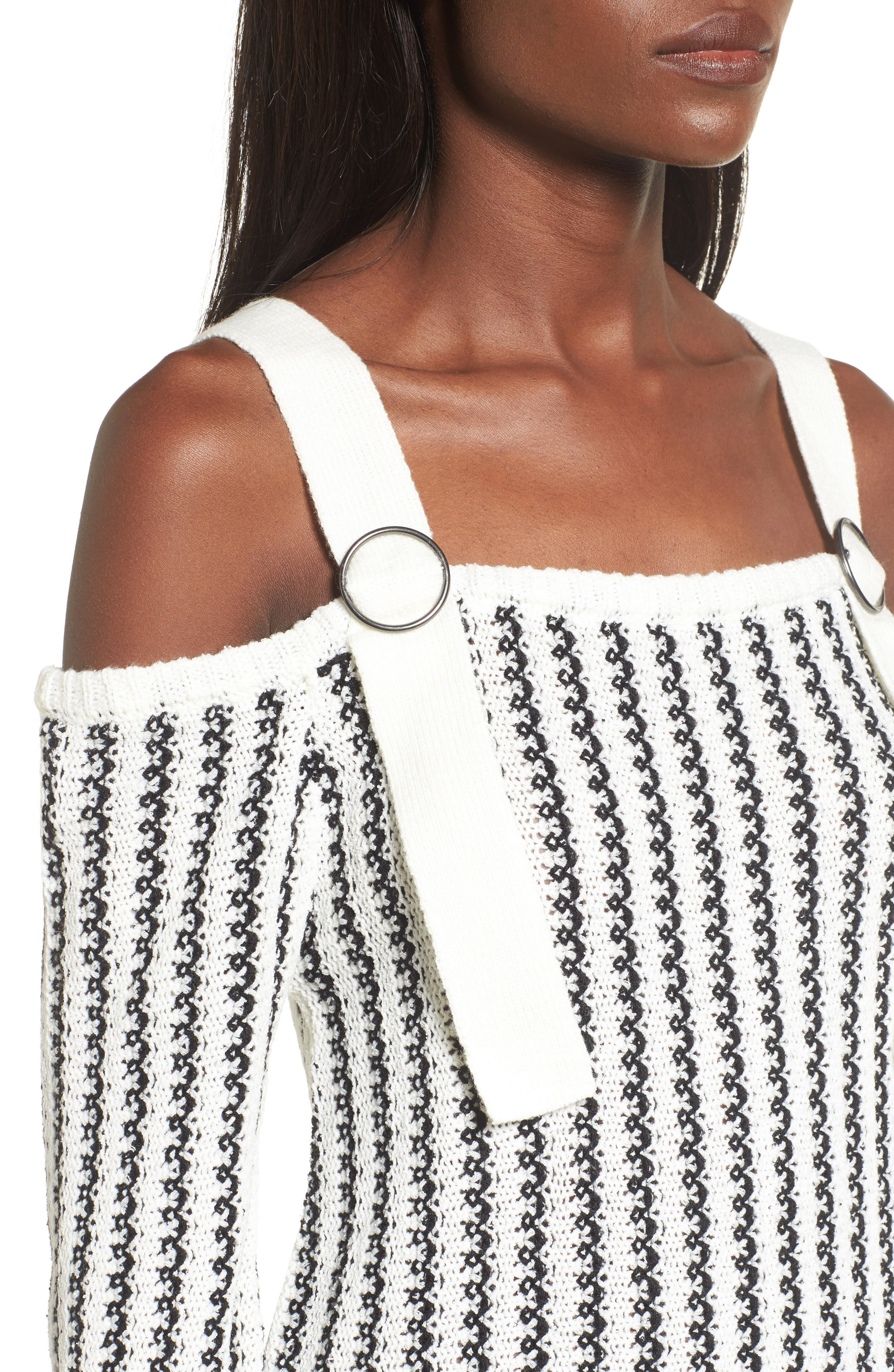 Buckle Strap Sweater,                             Alternate thumbnail 5, color,                             Ivory Black