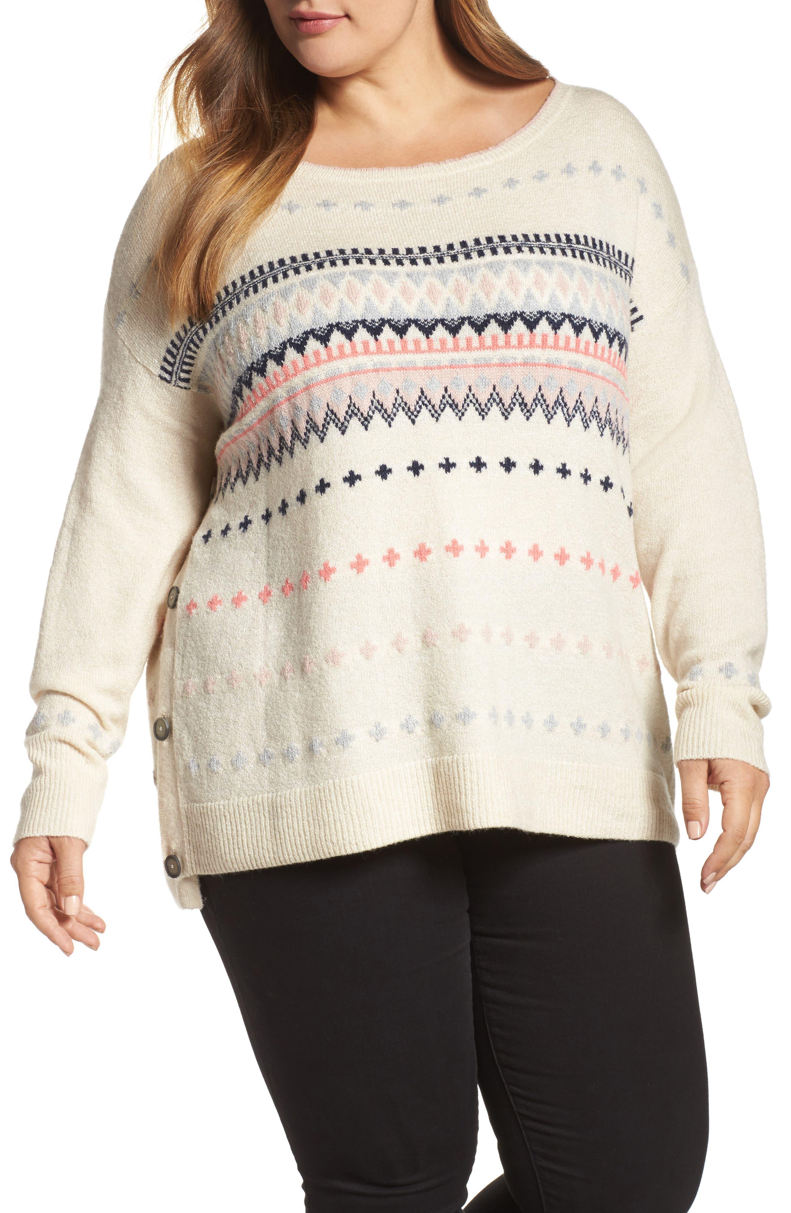 Caslon® Side Button Sweater (Plus Size)