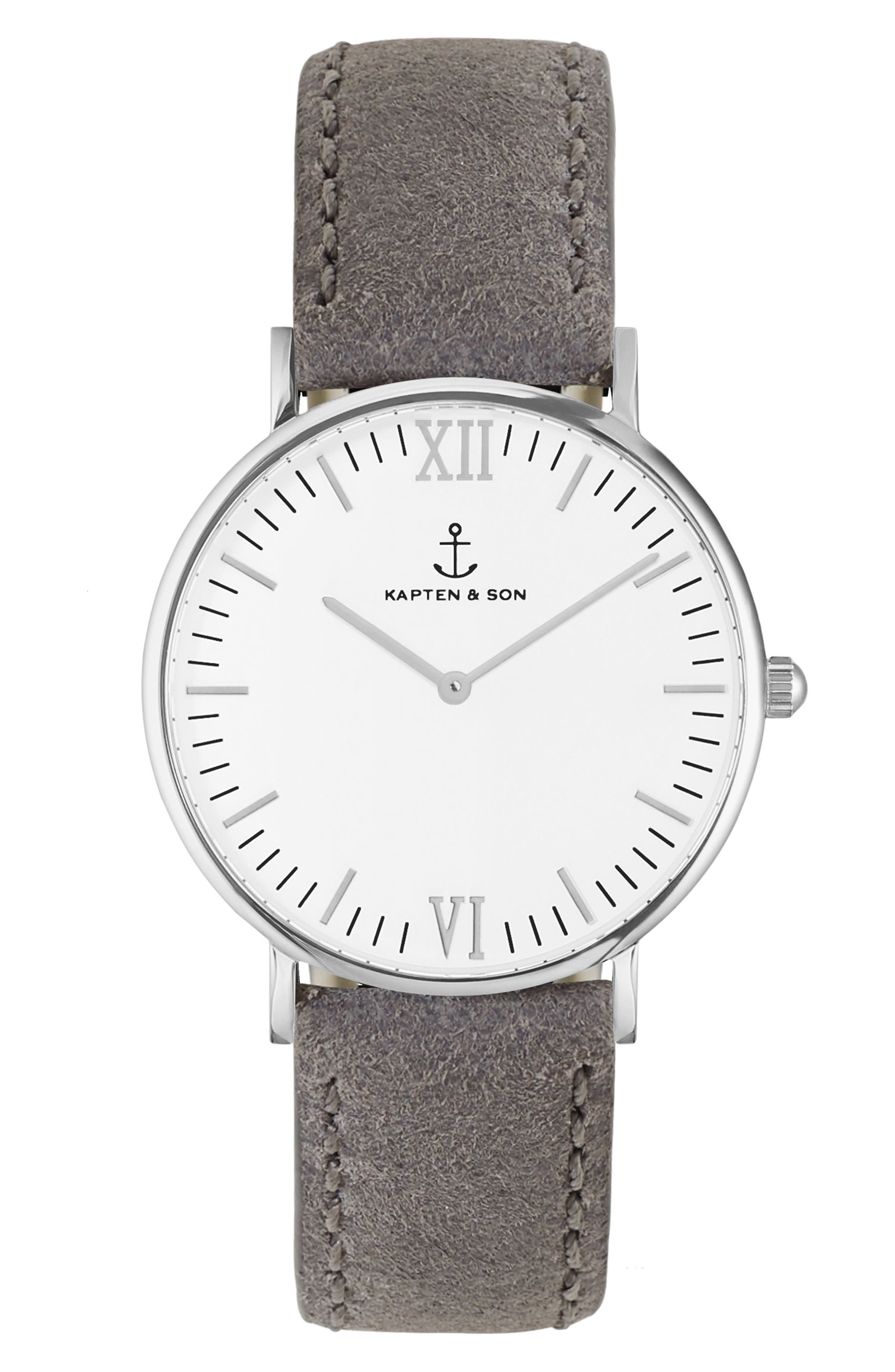 Campus Leather Strap Watch, 40mm,                         Main,                         color, Grey/ White/ Silver