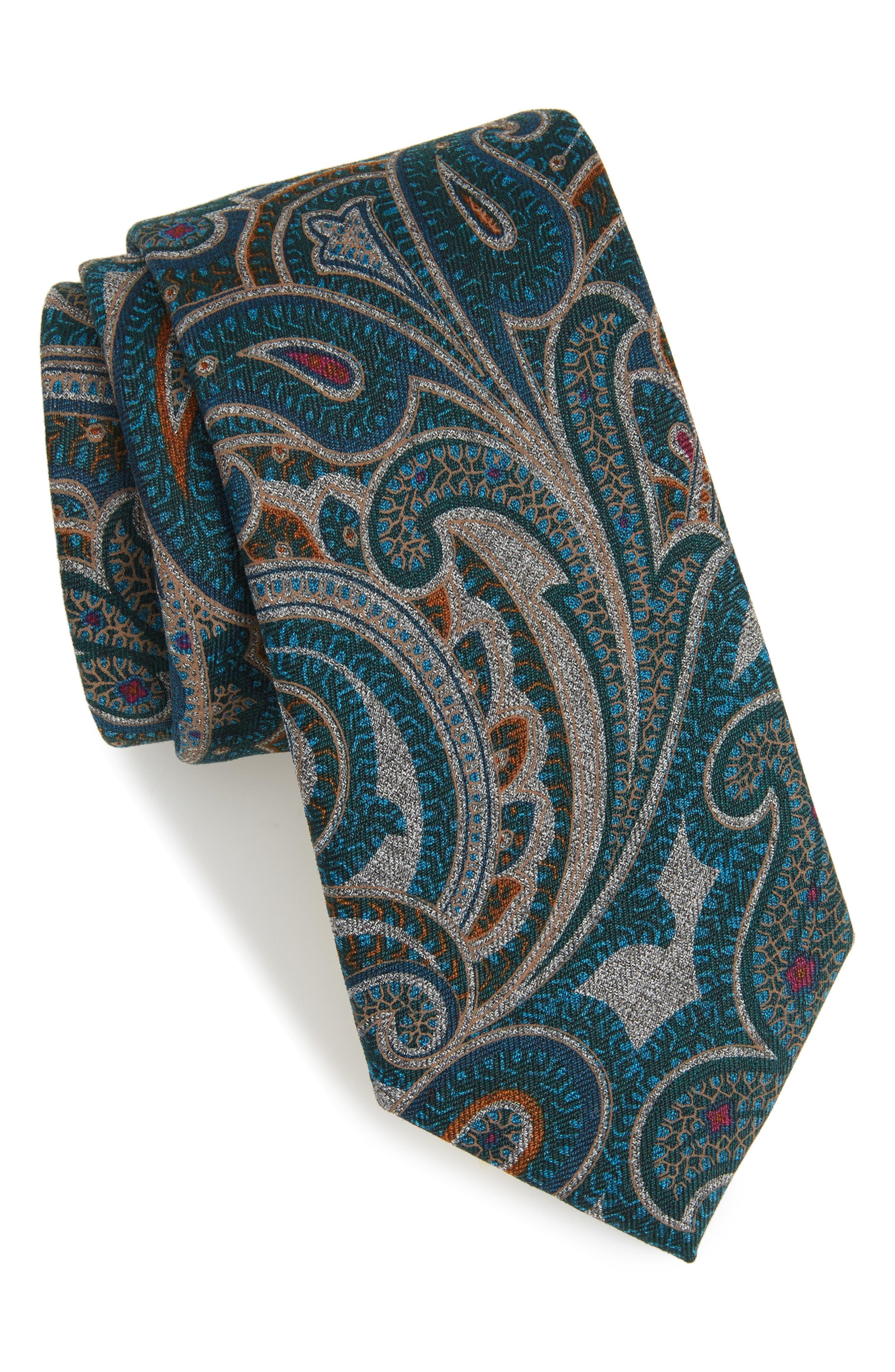 Mélange Paisley Tie,                             Main thumbnail 1, color,                             Rust