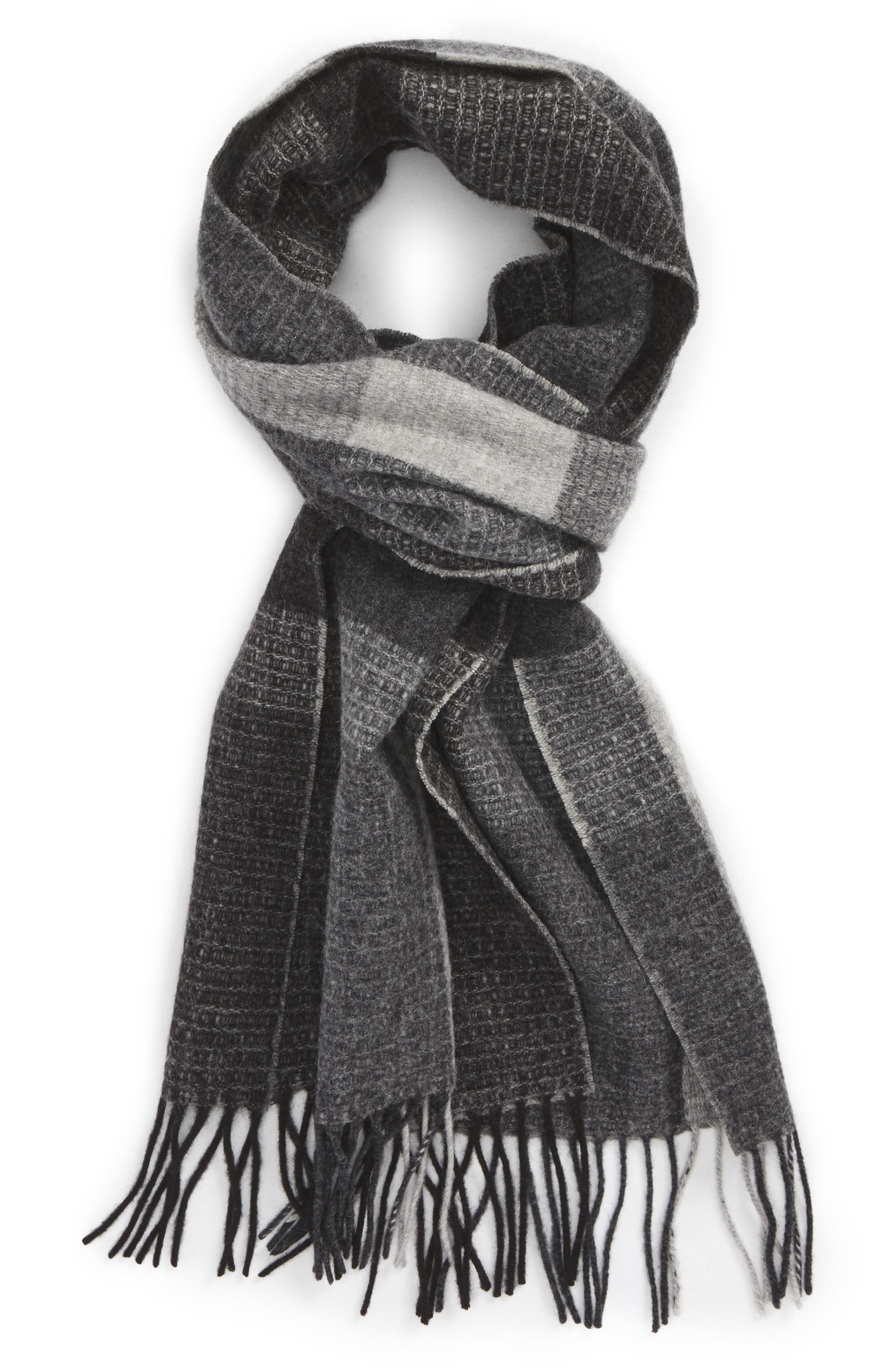 Alternate Image 1 Selected - Nordstrom Men's Shop Plaid Wool Scarf