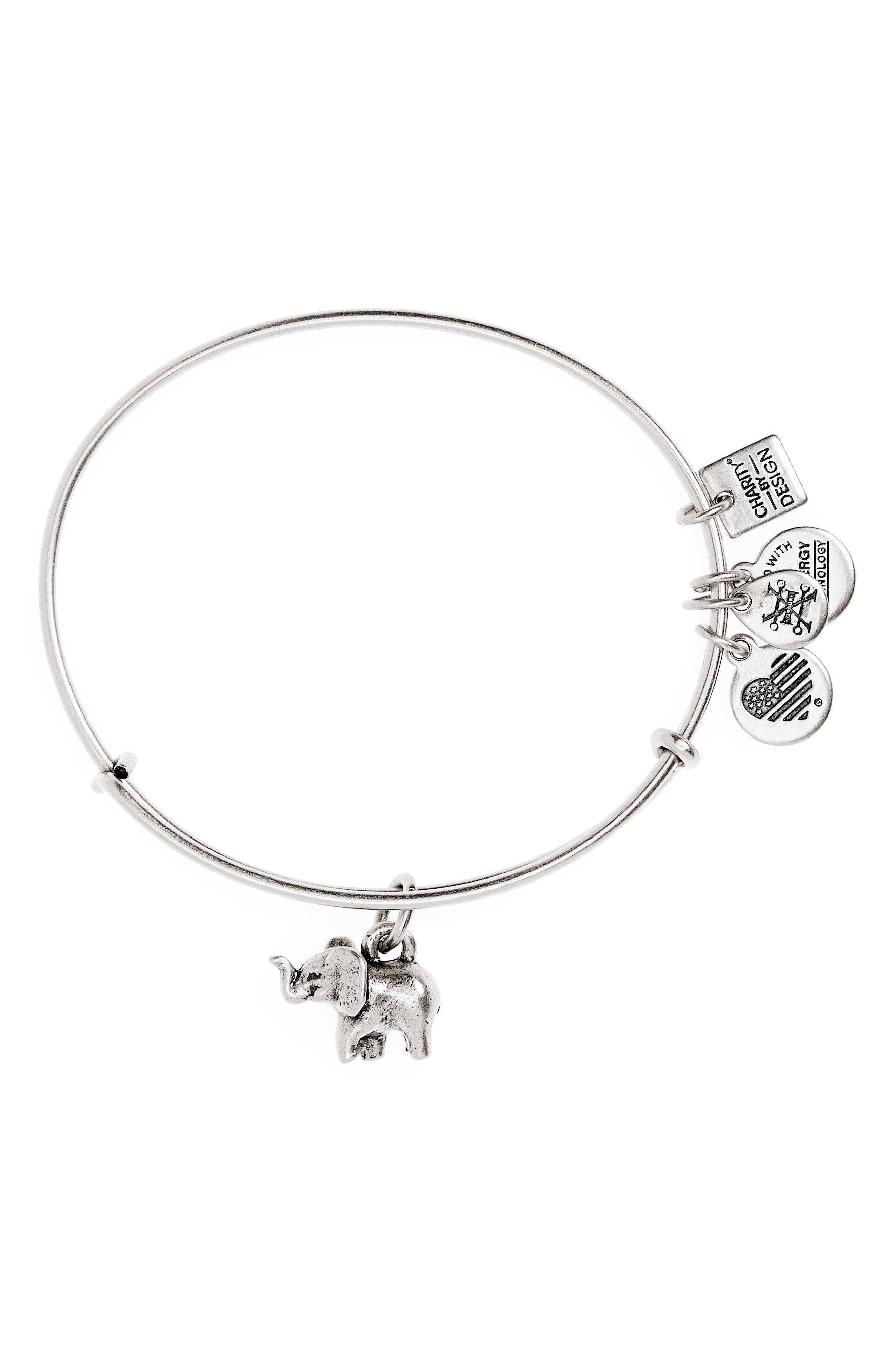 Charity by Design Elephant II Adjustable Bangle,                             Main thumbnail 1, color,                             Silver
