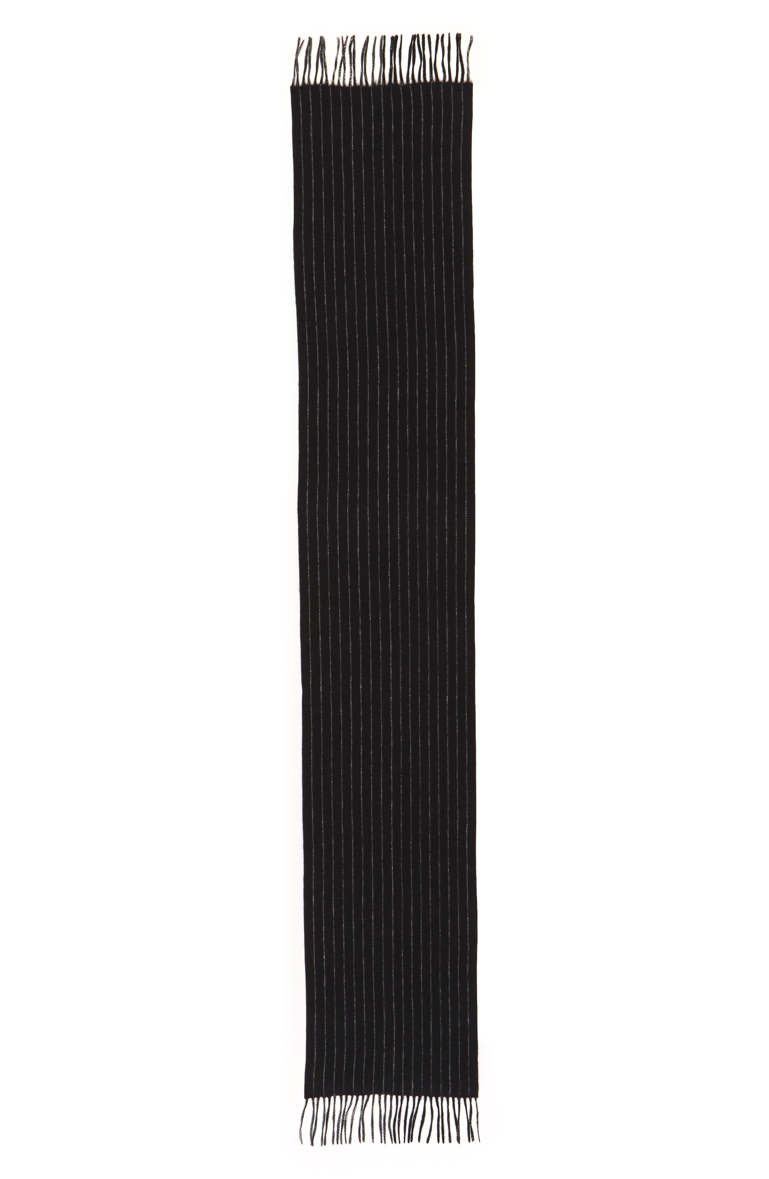 Pinstripe Cashmere Scarf,                             Alternate thumbnail 2, color,                             Black/ Grey