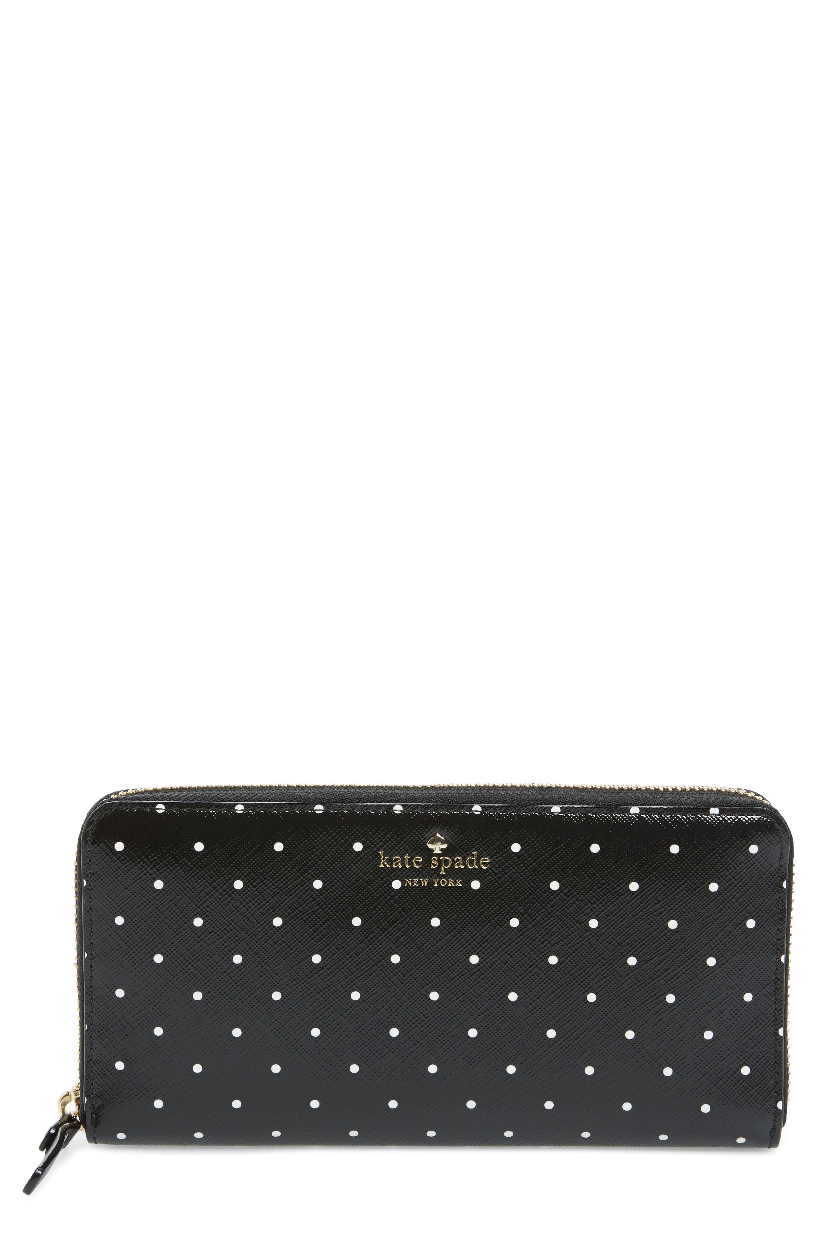 brooks drive - lacey zip around wallet,                         Main,                         color, Black/ Cream