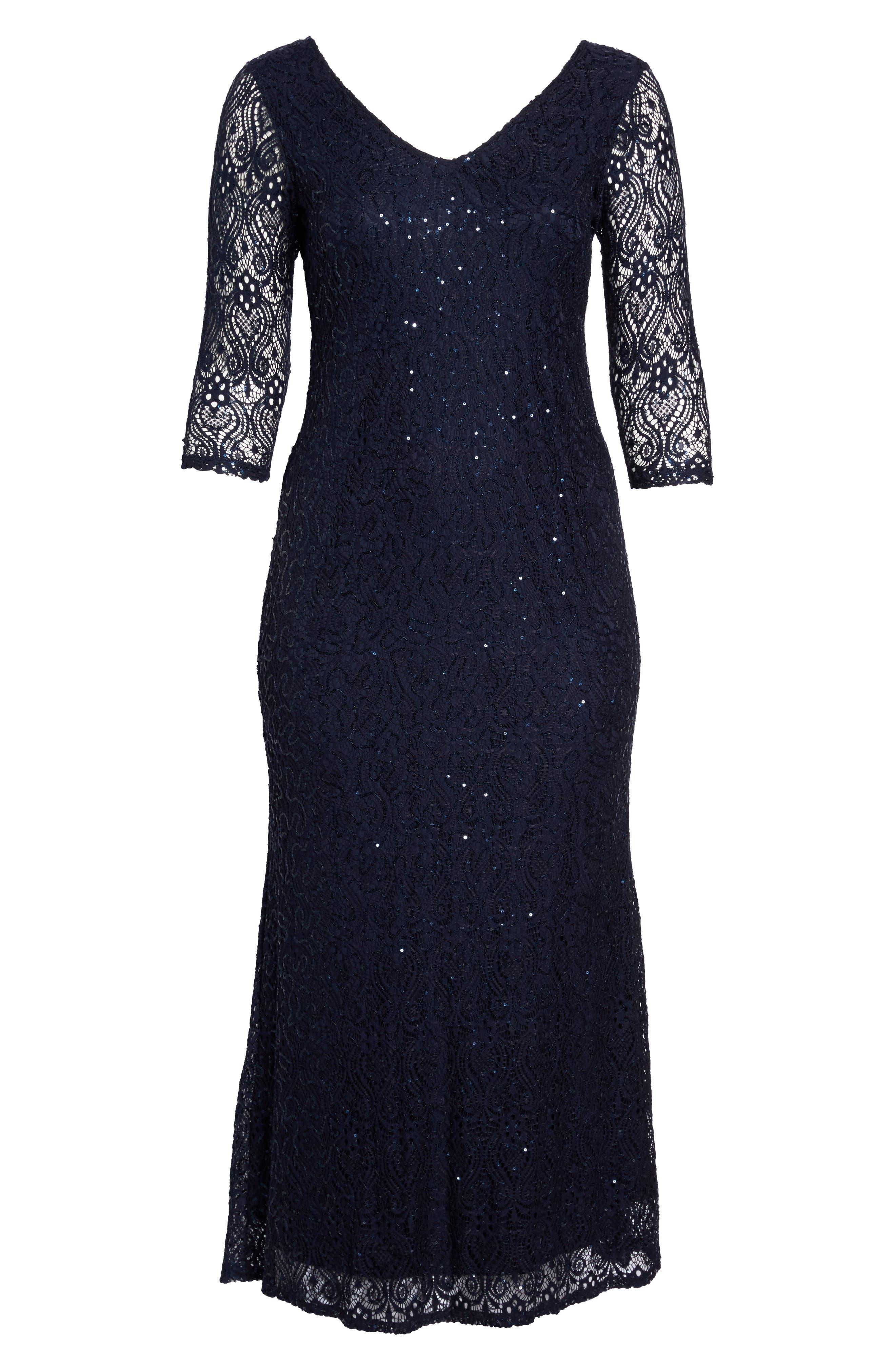 Alternate Image 6  - Marina Sequin Lace A-Line Gown (Plus Size)