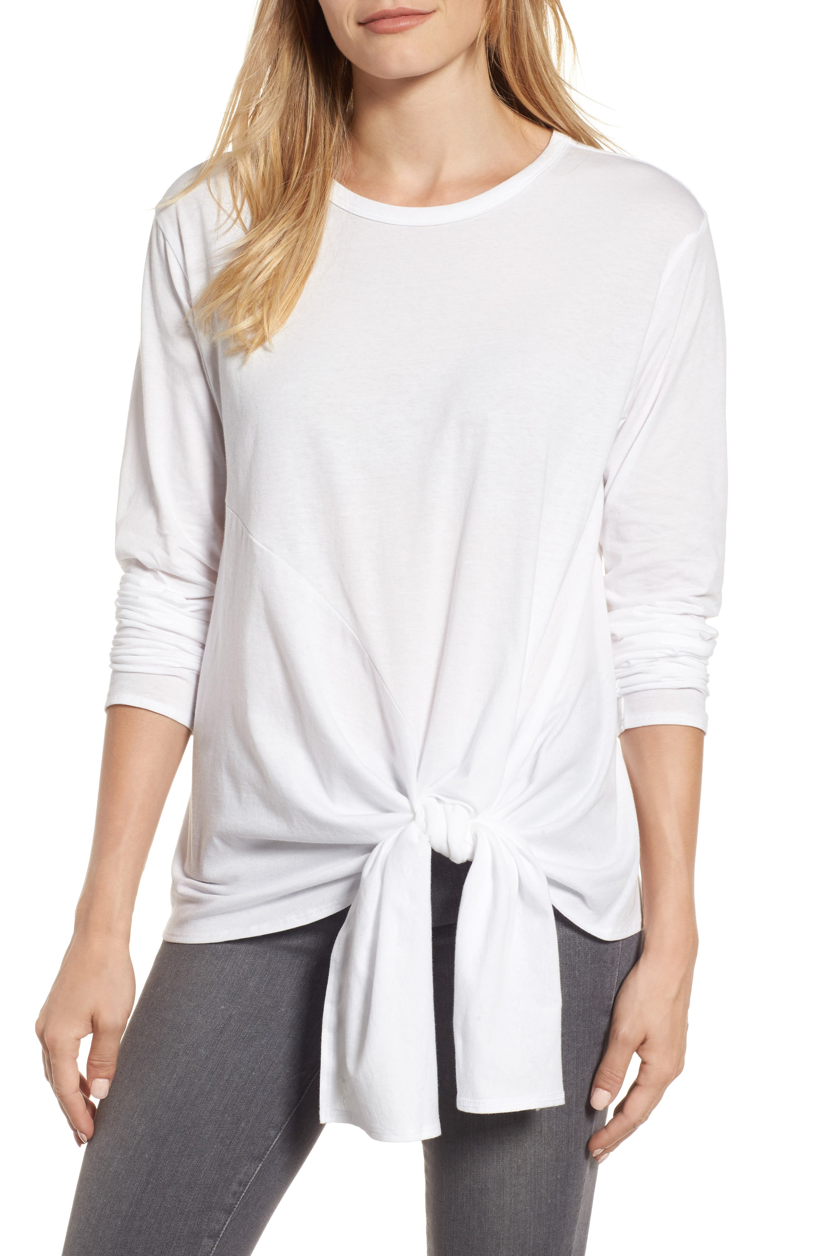 Long Sleeve Side Tie Tee,                             Main thumbnail 1, color,                             White
