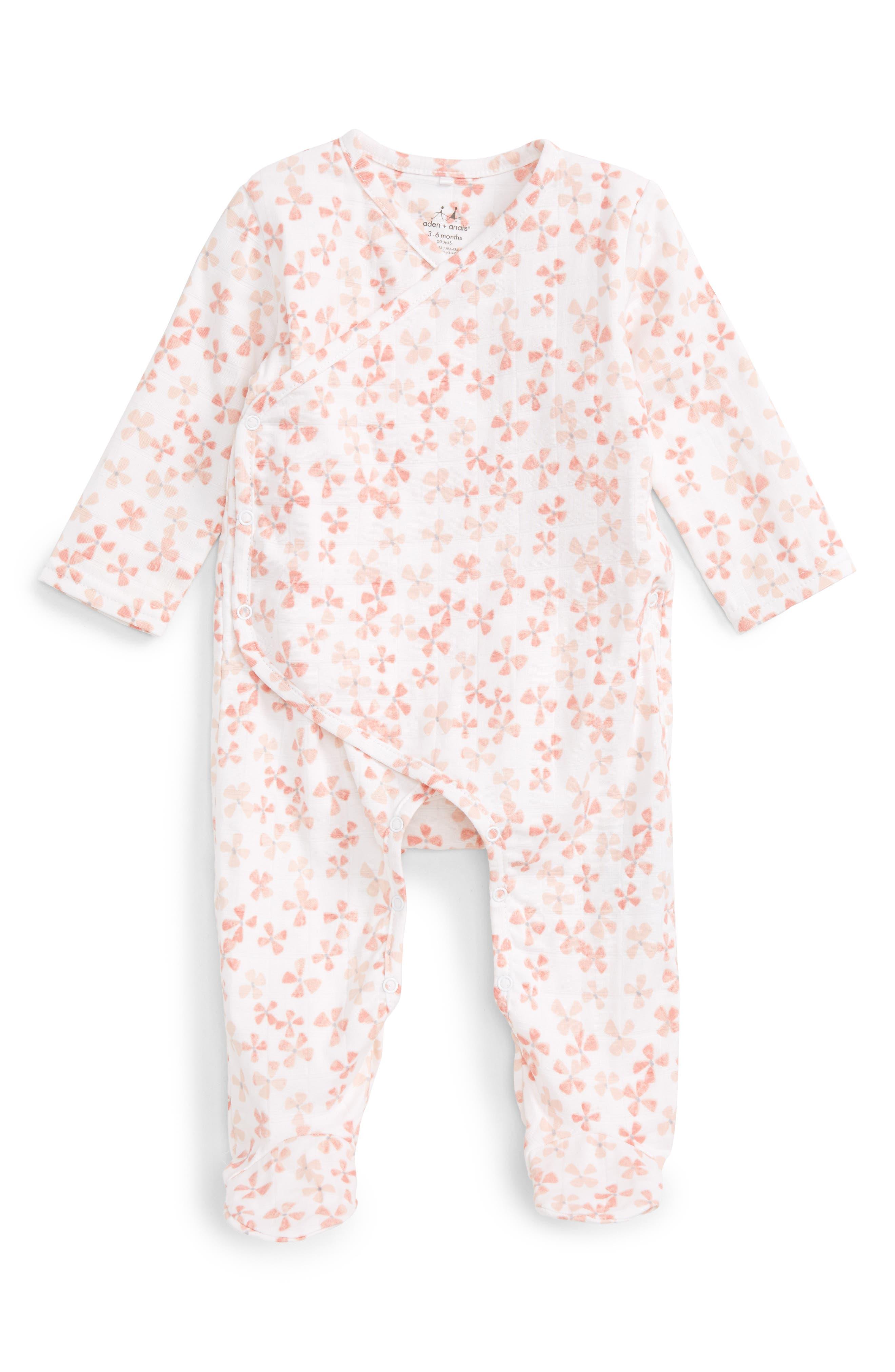 Aden + Anais Print Wrap Romper (Baby Girls)