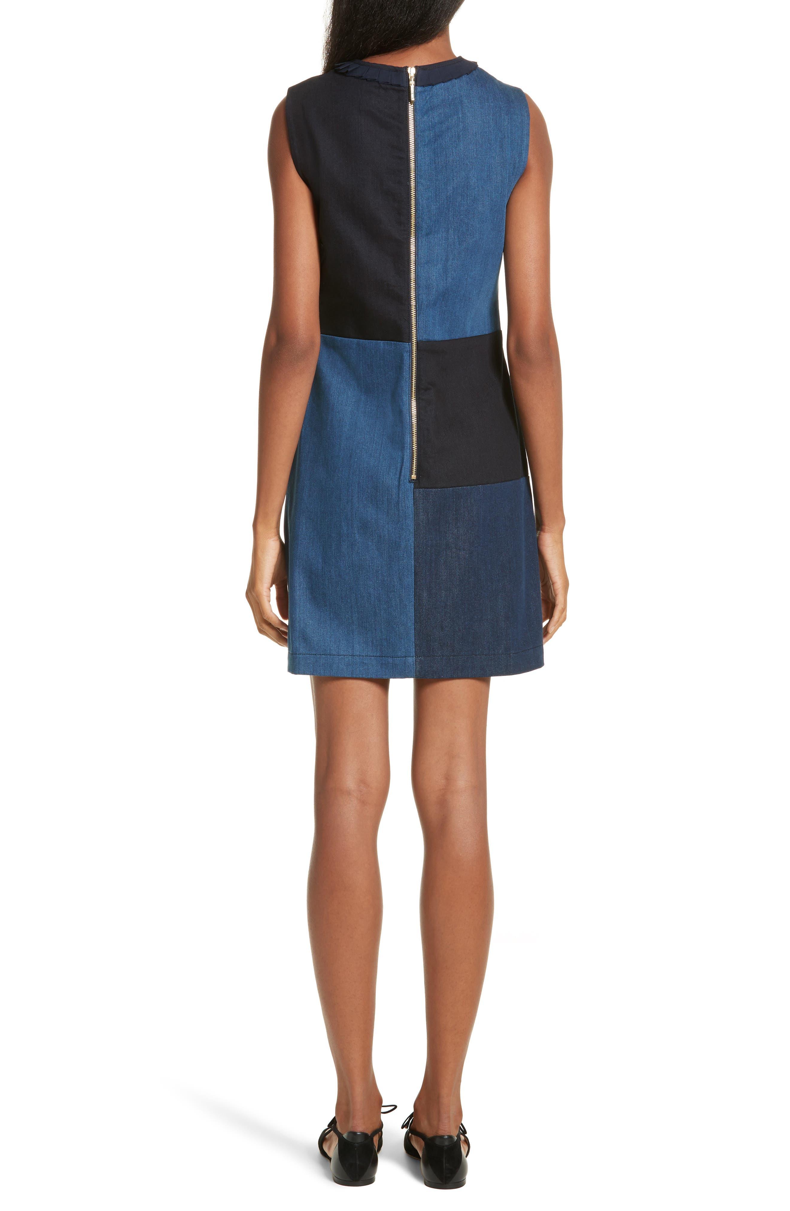 Ted Baker Morfee London Colorblock Denim A-Line Dress,                             Alternate thumbnail 2, color,                             Mid Wash