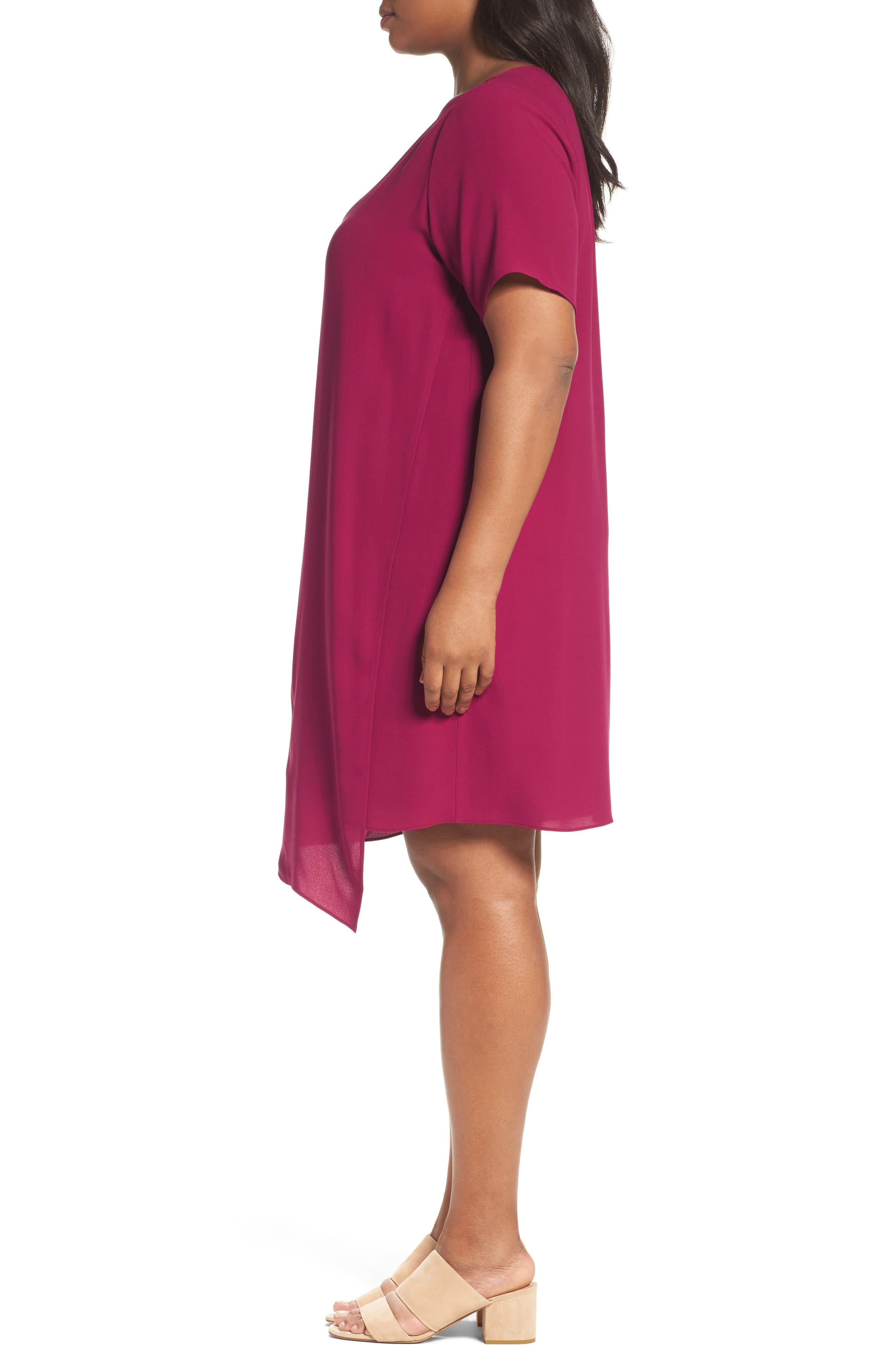 Asymmetrical Silk Shift Dress,                             Alternate thumbnail 3, color,                             Hibiscus
