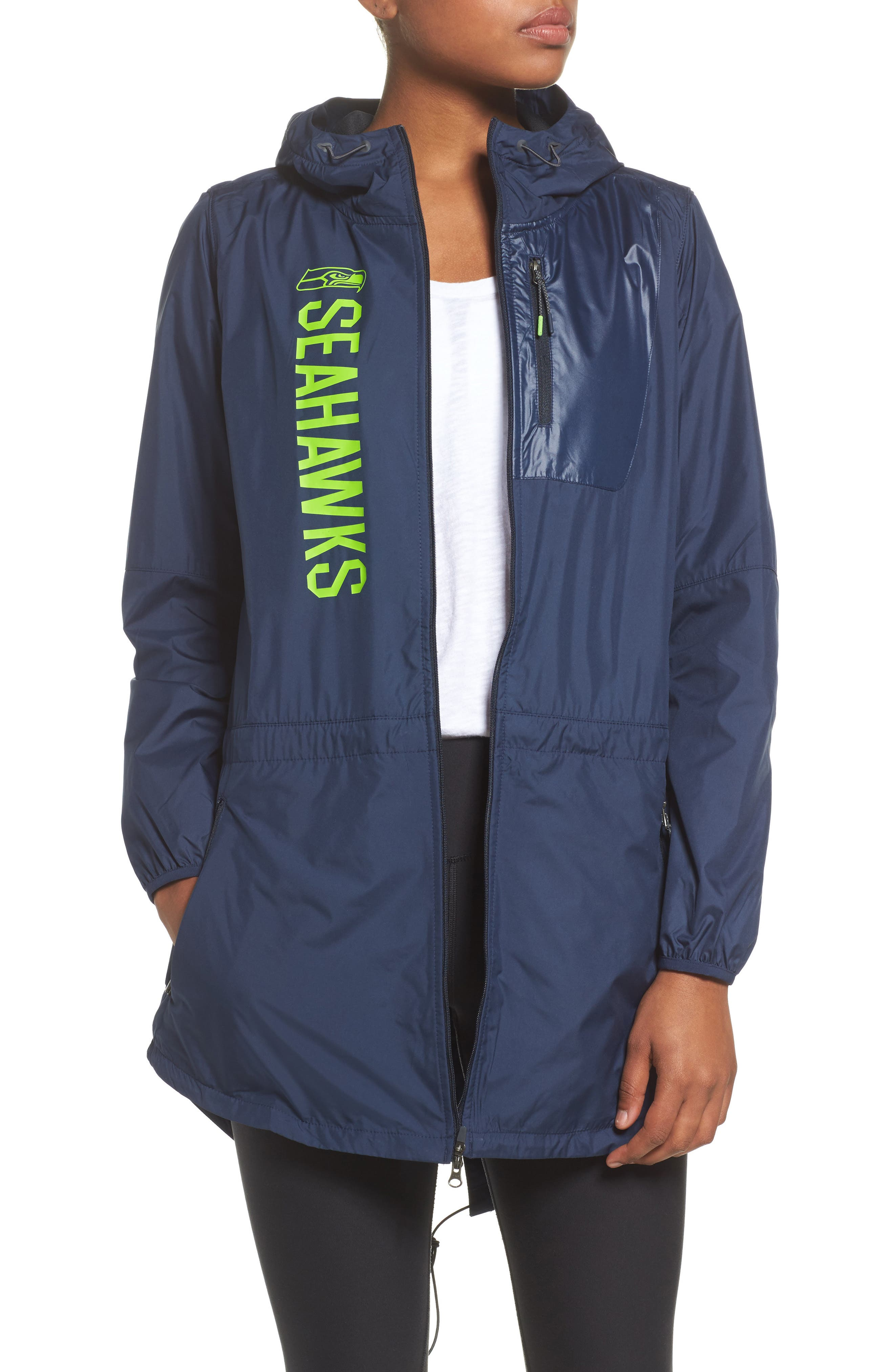 NFL Packable Water Resistant Jacket,                             Main thumbnail 1, color,                             College Navy/ Seahawks