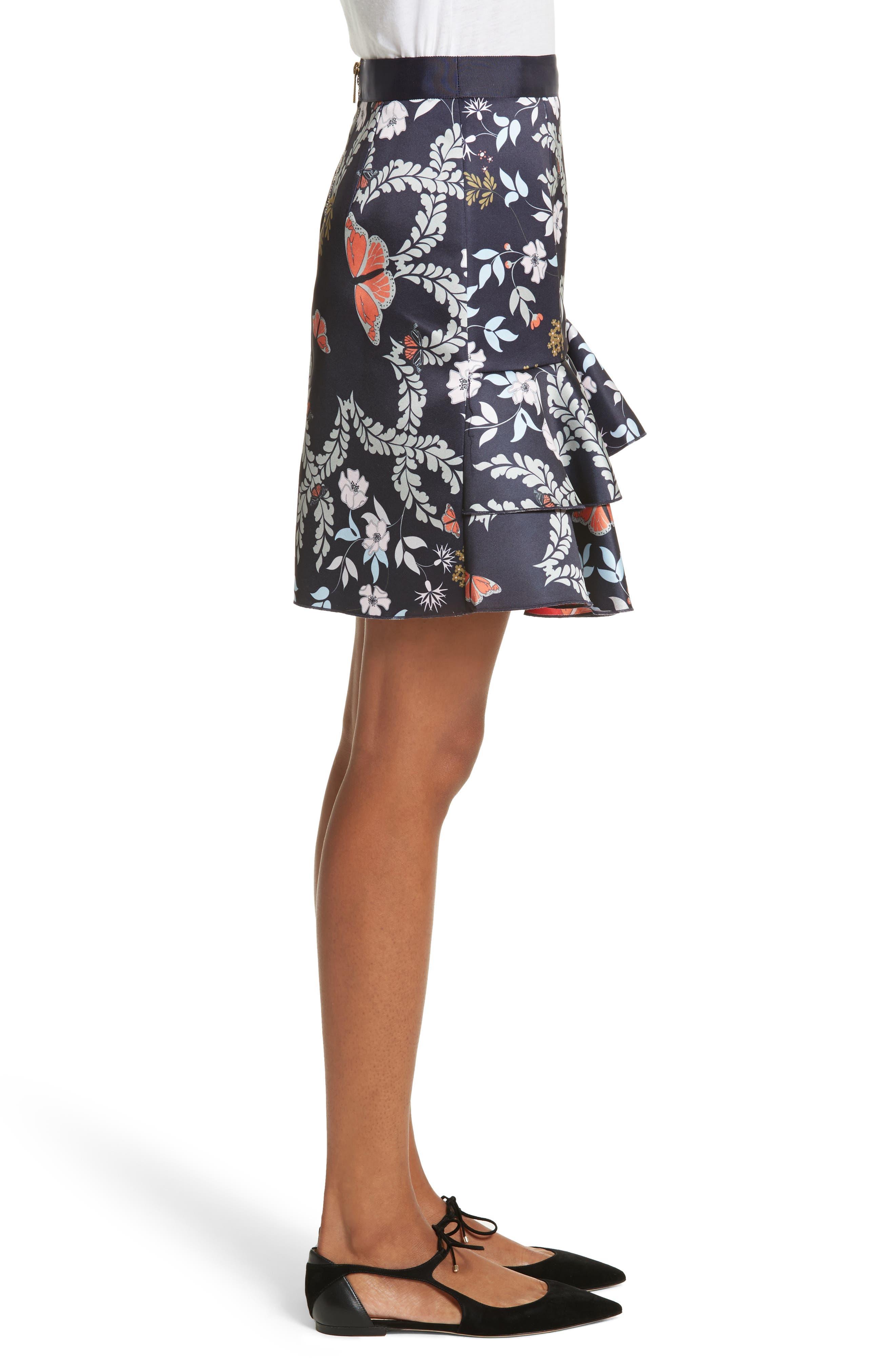 Janesa Kyoto Print Ruffle Skirt,                             Alternate thumbnail 3, color,                             Mid Blue