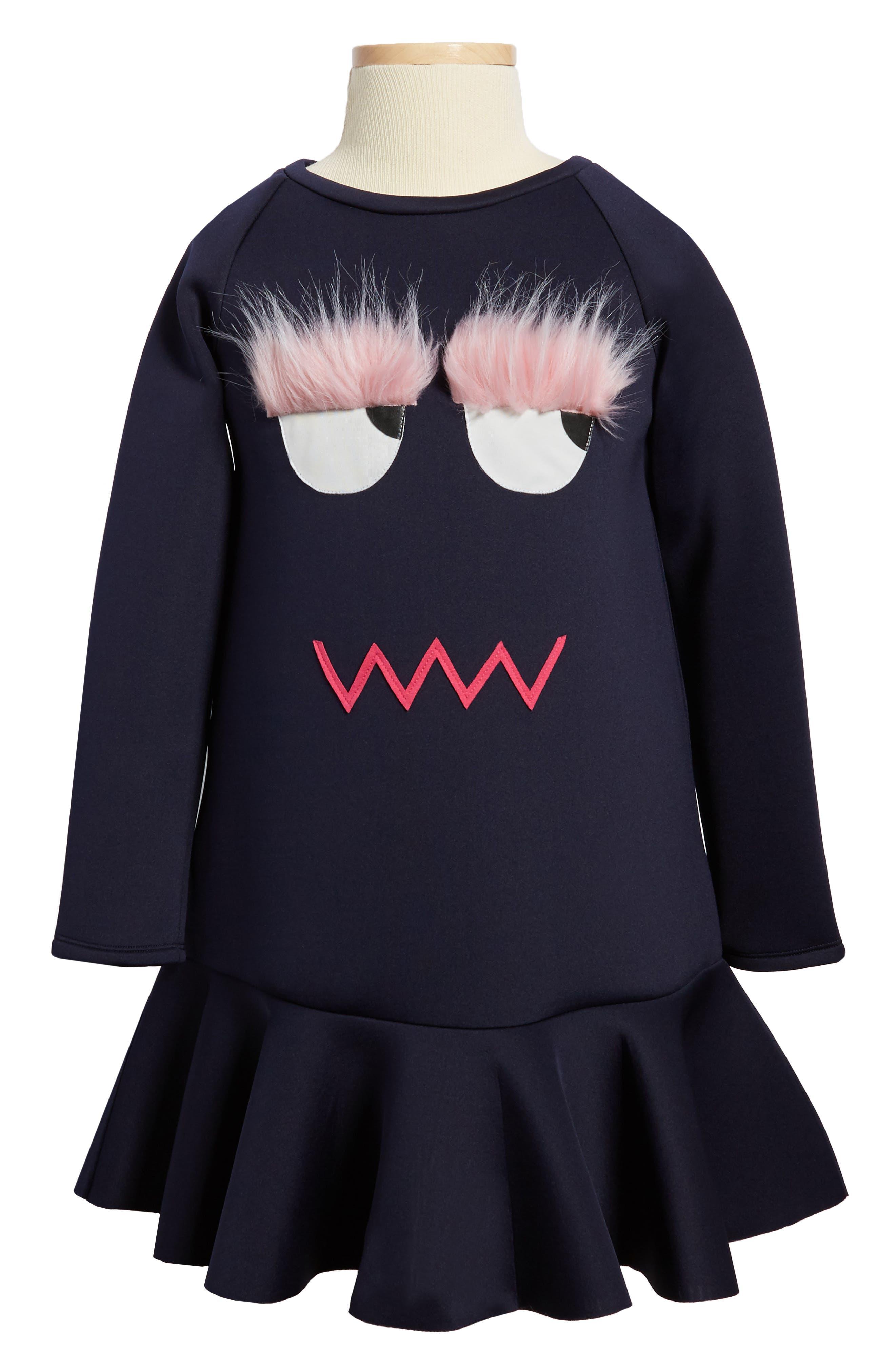 Main Image - Halabaloo Monster Scuba Dress (Toddler Girls, Little Girls & Big Girls)