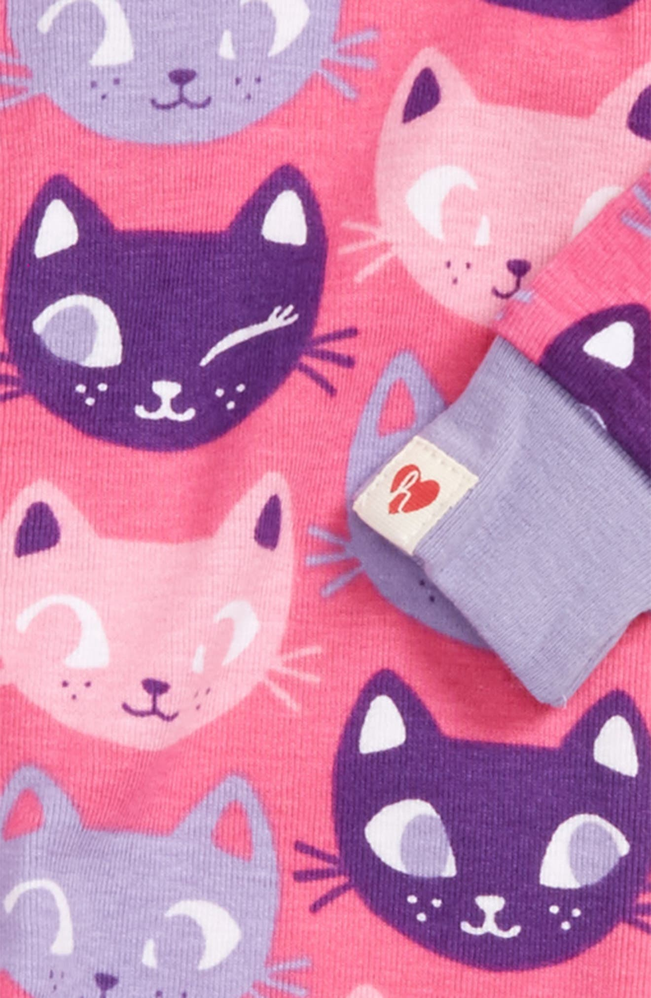 Organic Cotton Fitted One-Piece Pajamas,                             Alternate thumbnail 2, color,                             Silly Kitties