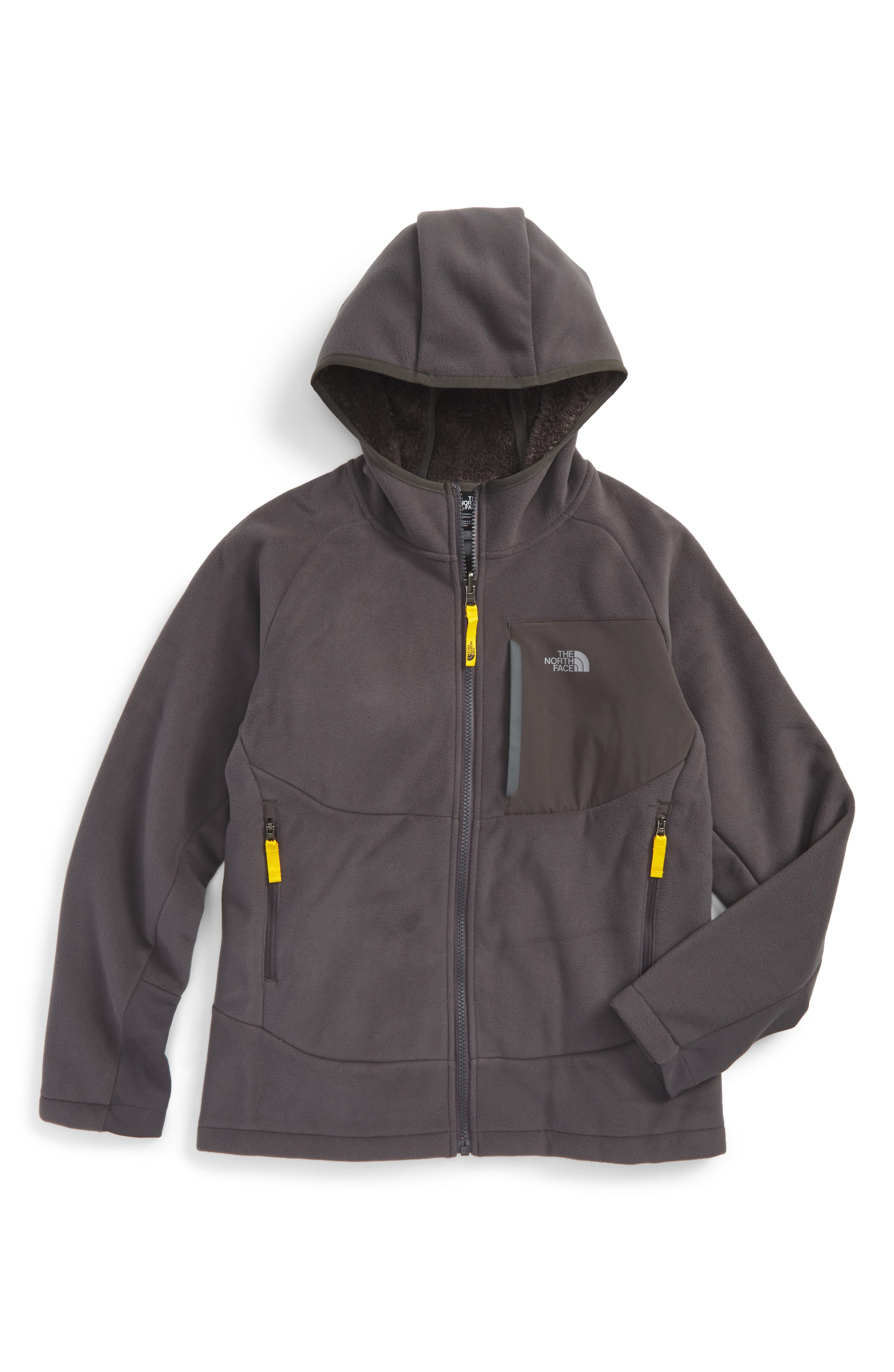 'Chimborazo' Hoodie,                             Main thumbnail 1, color,                             Graphite Grey/ Canary Yellow