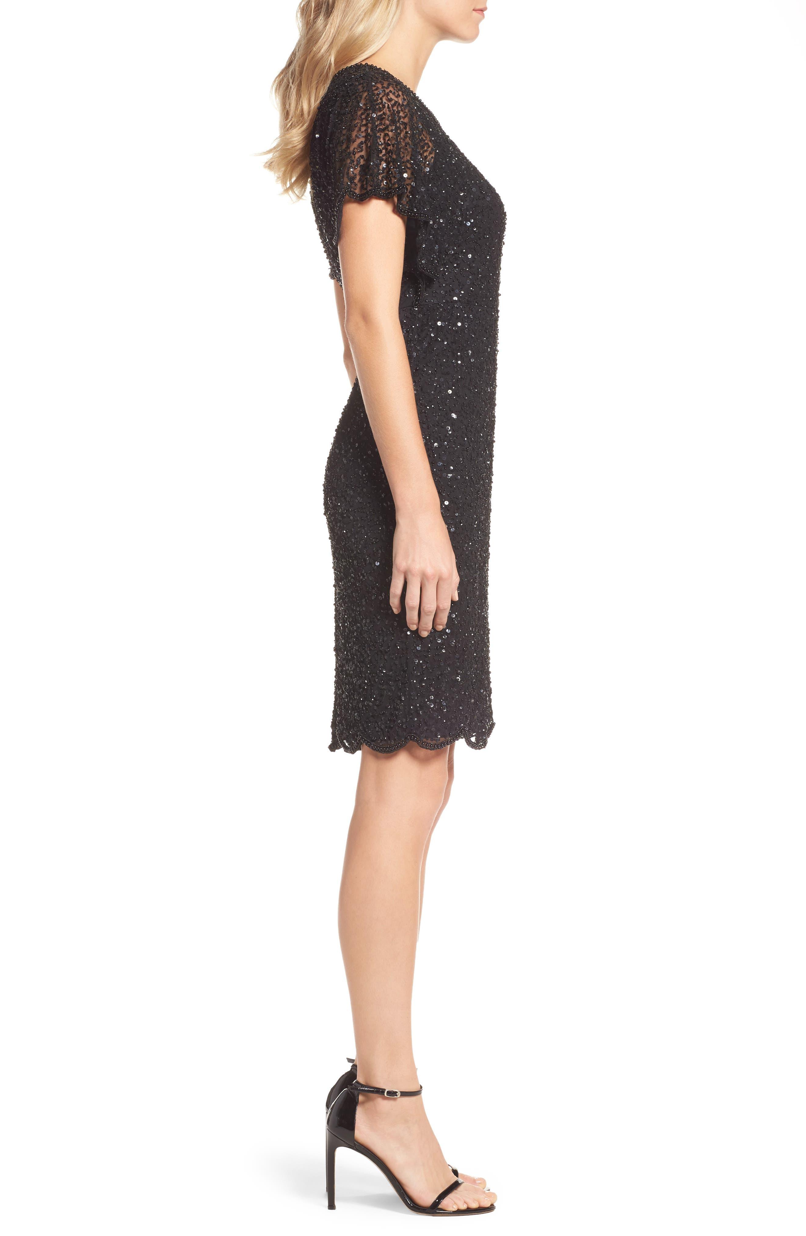Alternate Image 3  - Adrianna Papell Embellished Flutter Sleeve Cocktail Dress