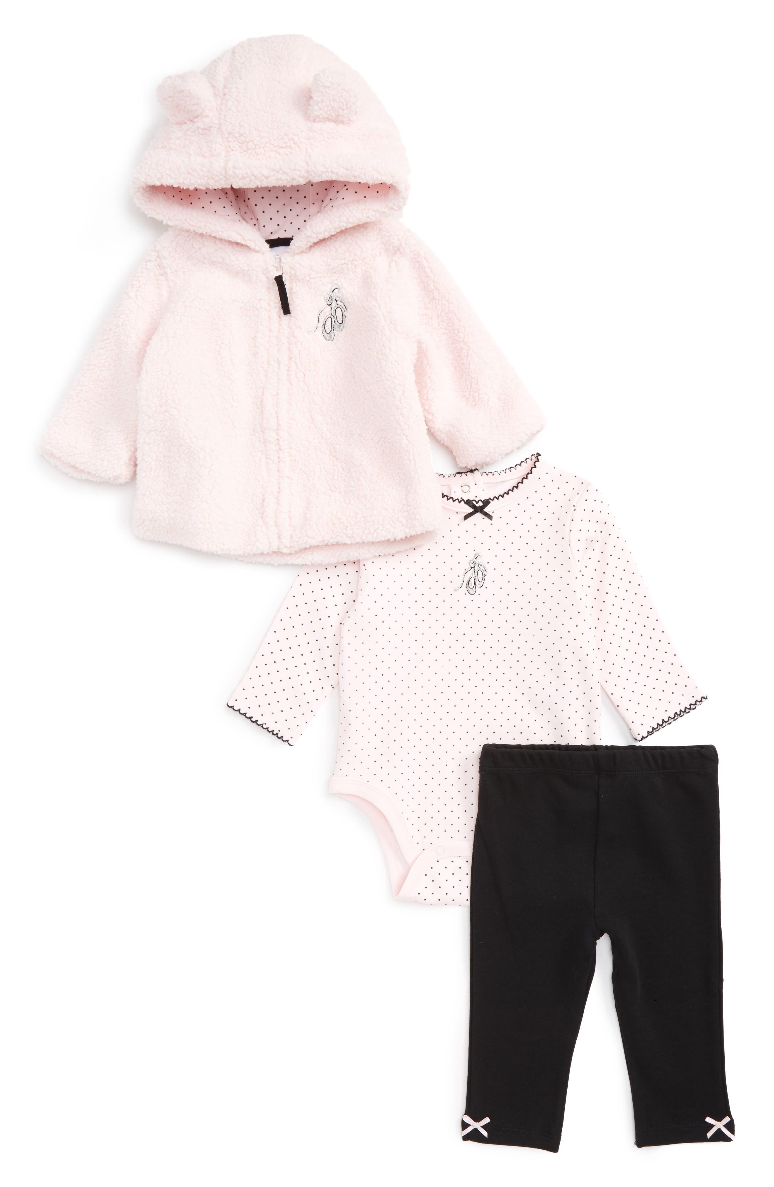 Little Me Ballet Fleece Hoodie, Bodysuit & Leggings Set (Baby Girls)