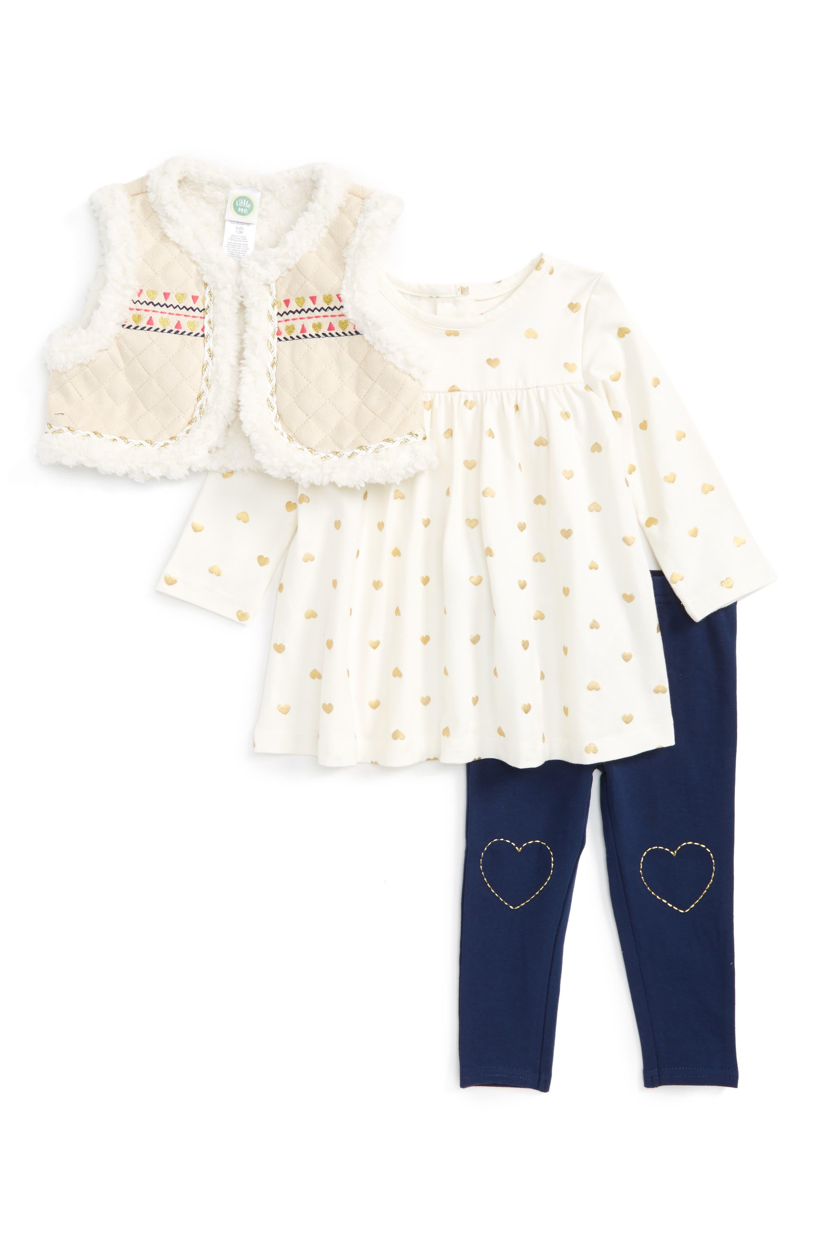 Main Image - Little Me Vest, Long Sleeve Shirt & Leggings Set (Baby Girls)
