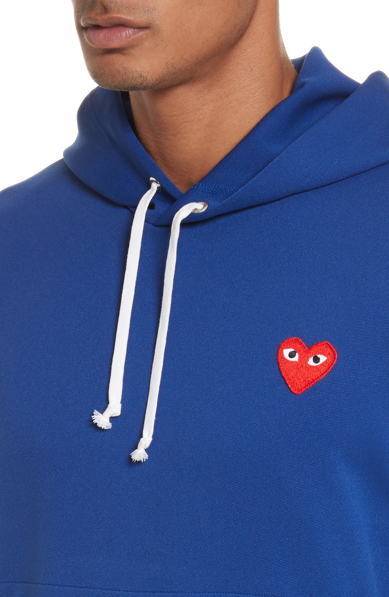 Comme des Garçons PLAY Pullover Hoodie,                             Alternate thumbnail 4, color,                             Navy