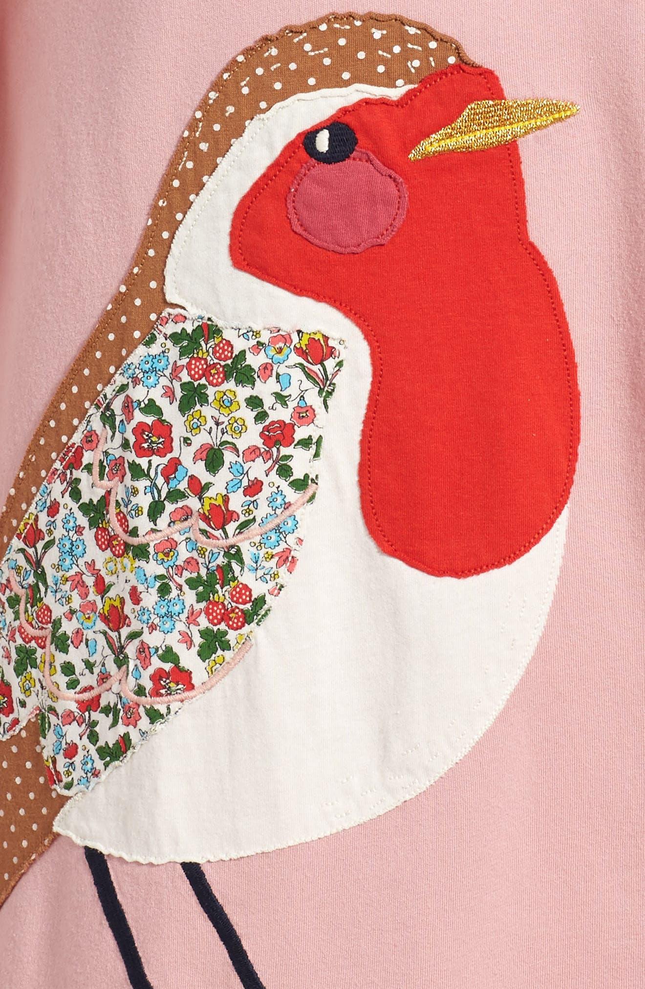 Big Appliqué Jersey Dress,                             Alternate thumbnail 3, color,                             Vintage Pink Robin