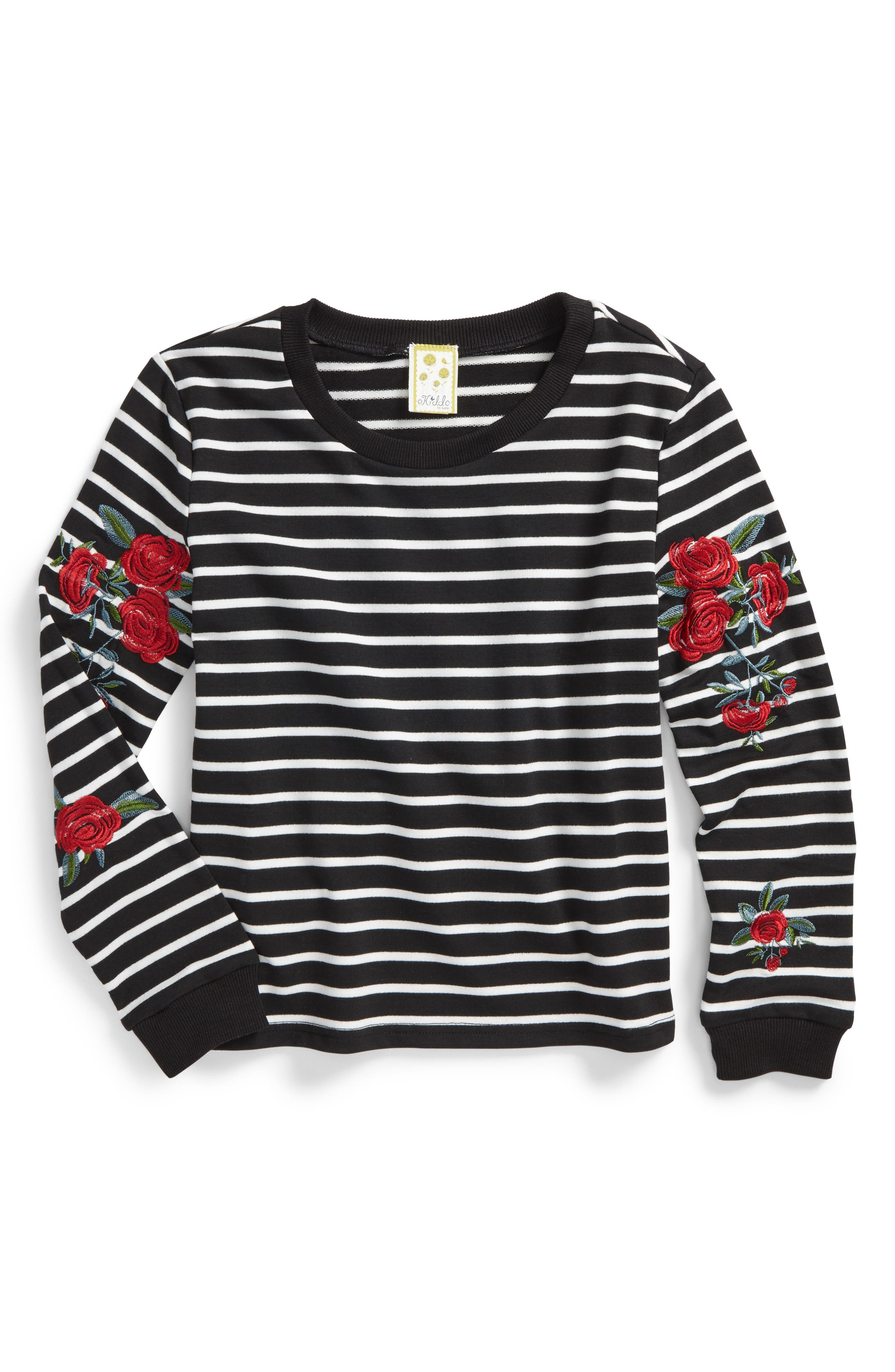 Embroidered Stripe Sweatshirt,                         Main,                         color, Black/ White
