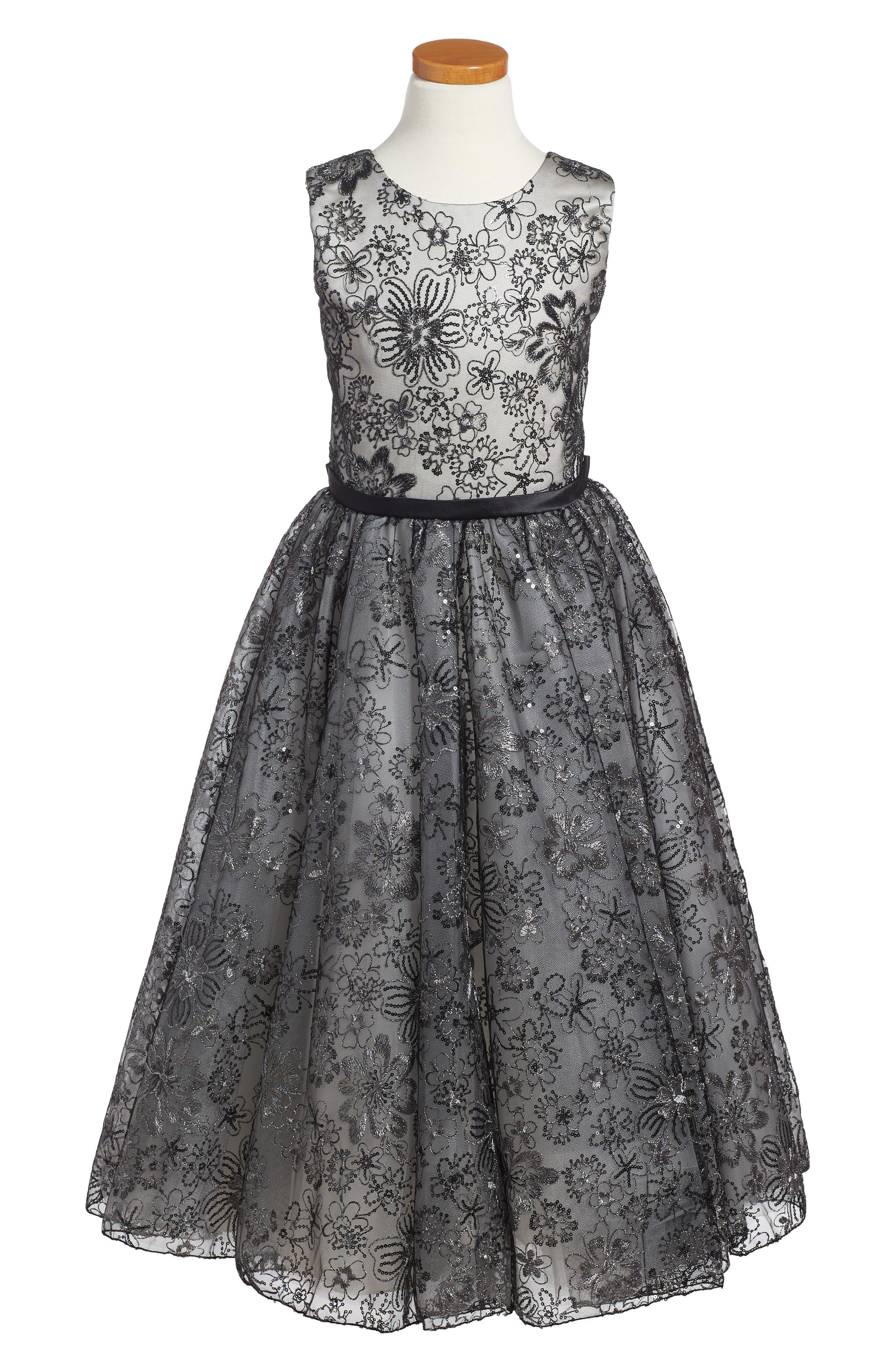 Sequin & Lace Dress,                             Main thumbnail 1, color,                             Black/ Ivory