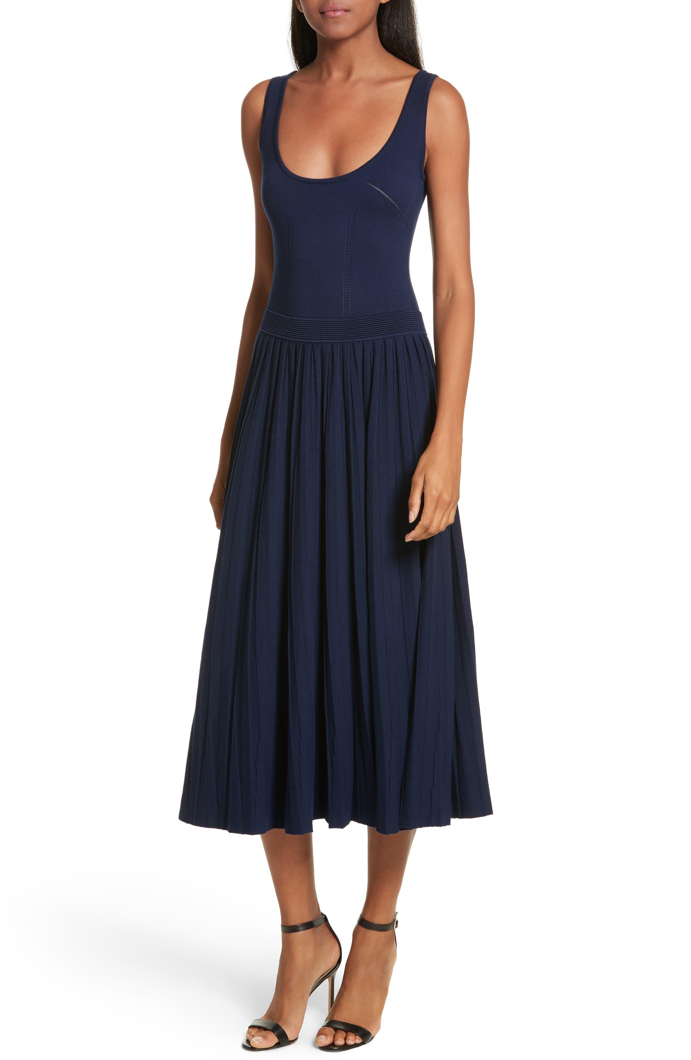 Ballet Neck Midi Dress,                             Main thumbnail 1, color,                             Navy