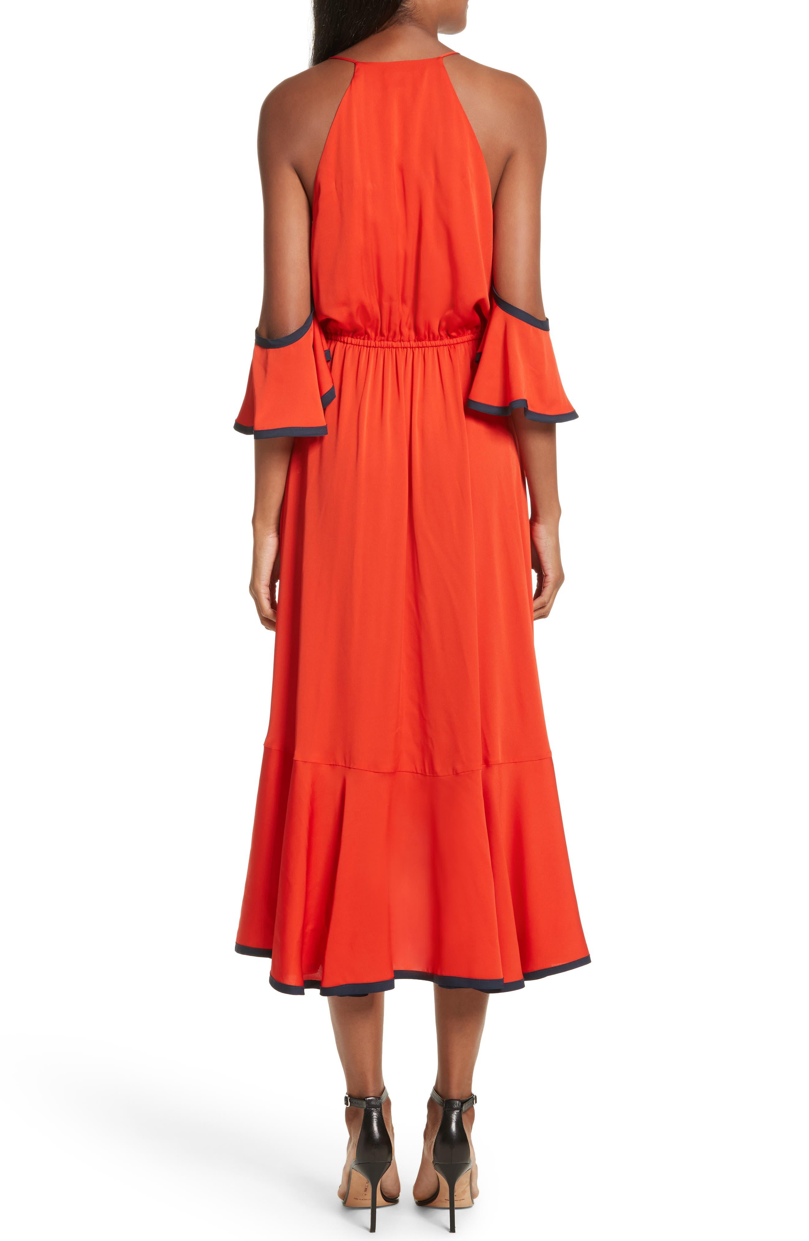 Alternate Image 2  - Milly Bryce Ruffle Stretch Silk Fit & Flare Dress