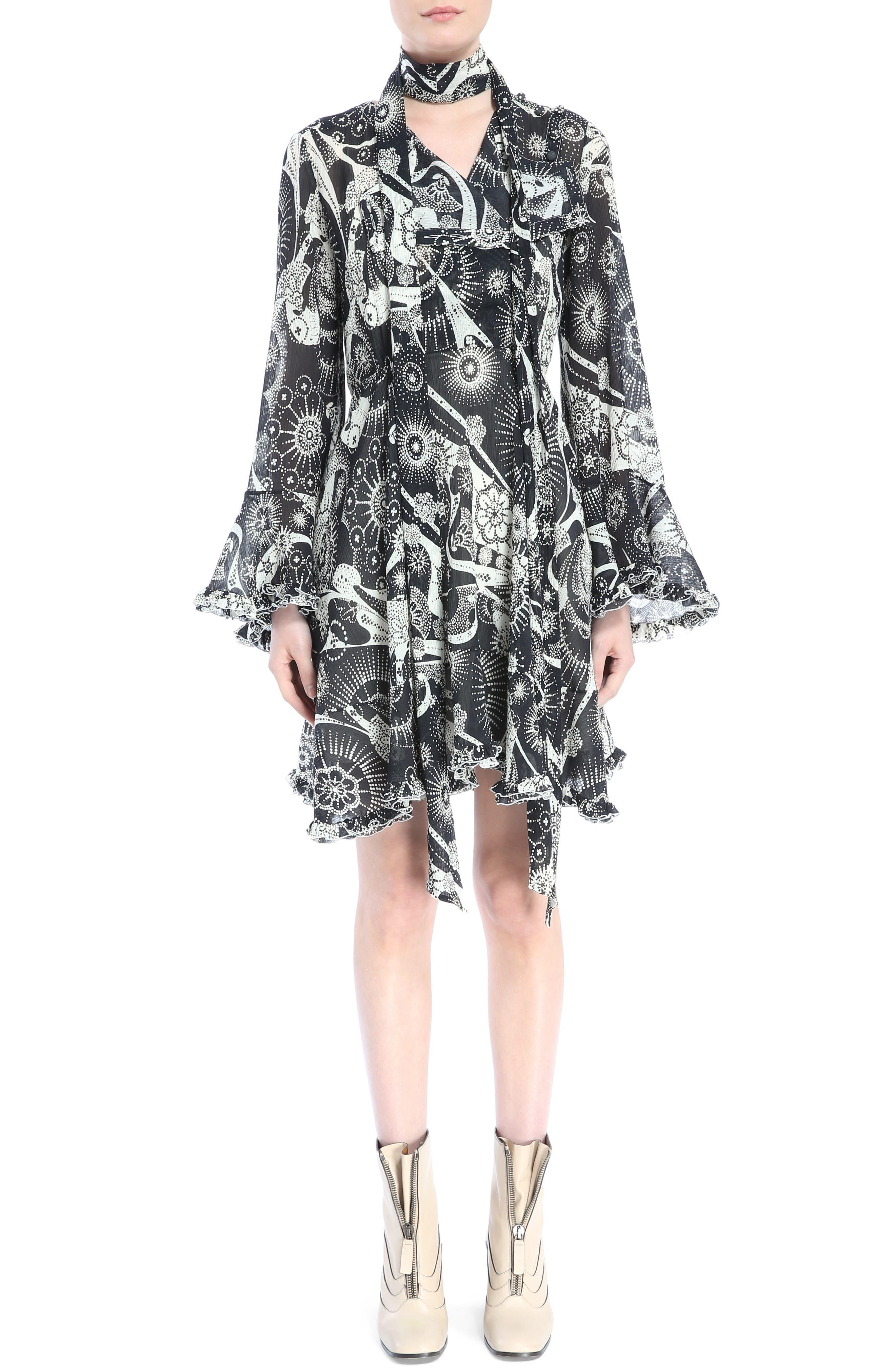 Dotty Ruffle Trim Crépon Dress with Scarf,                             Main thumbnail 1, color,                             Black-White