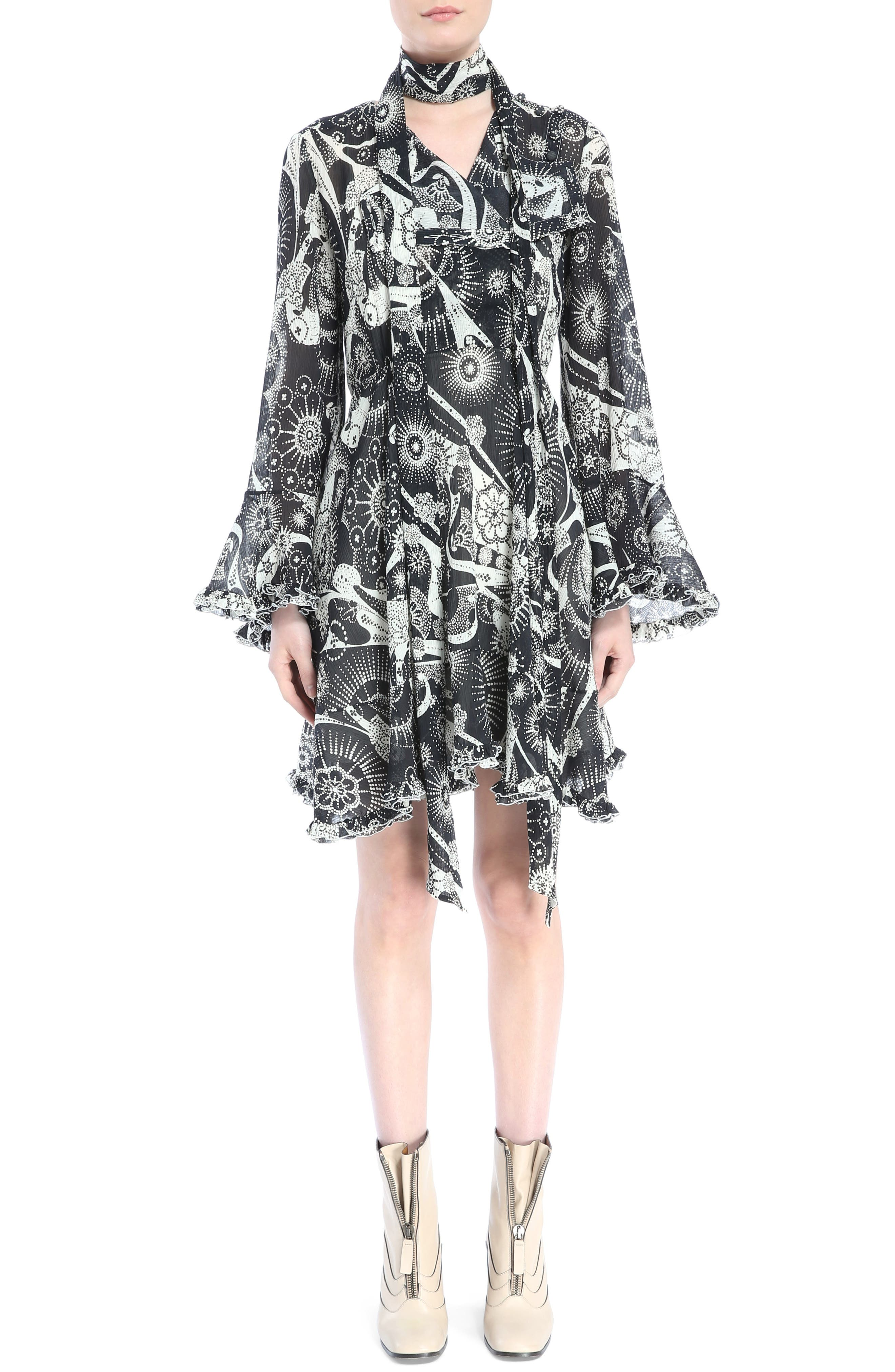 Dotty Ruffle Trim Crépon Dress with Scarf,                         Main,                         color, Black-White