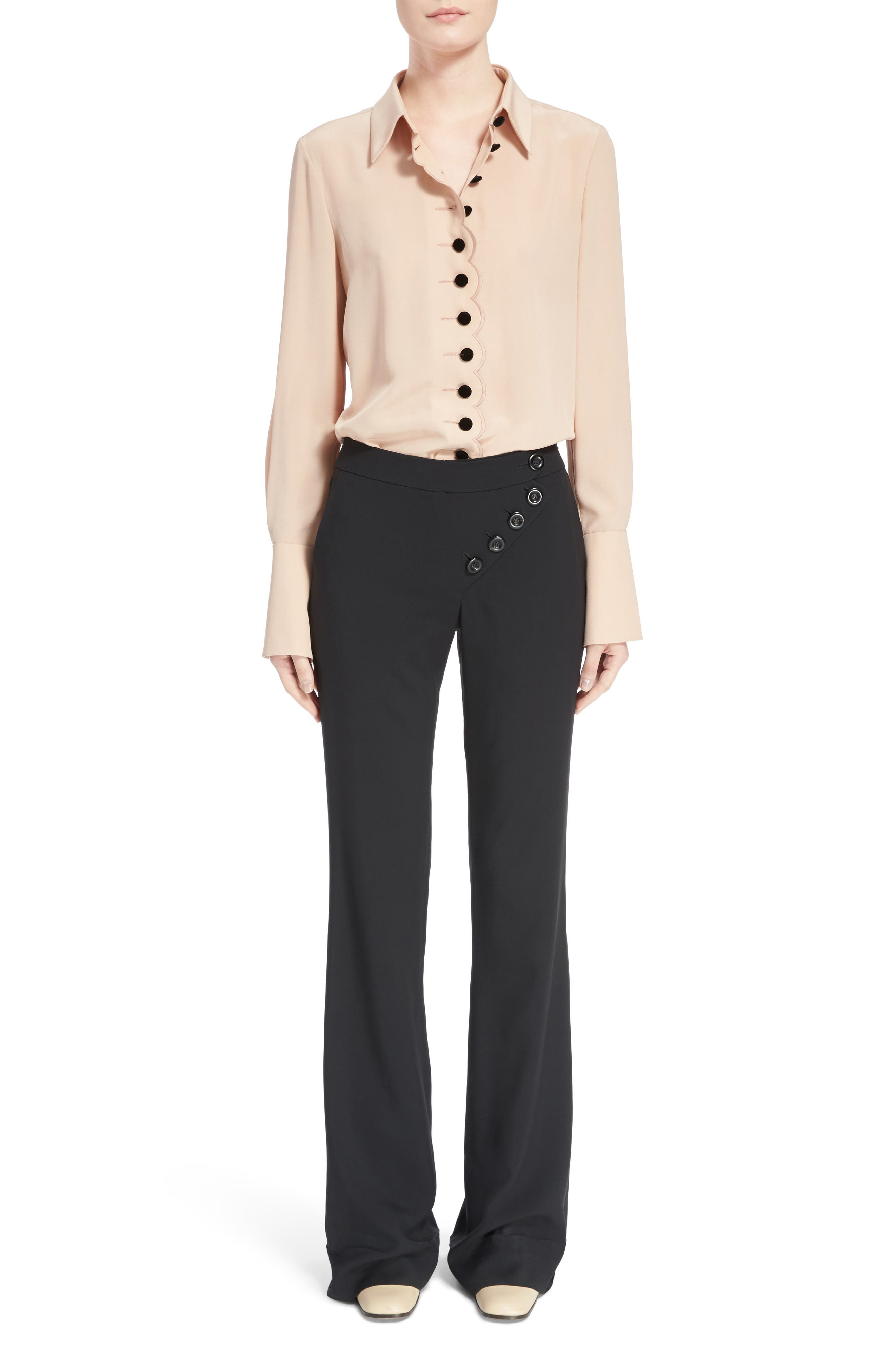 Alternate Image 9  - Chloé Asymmetrical Button Flare Cady Pants