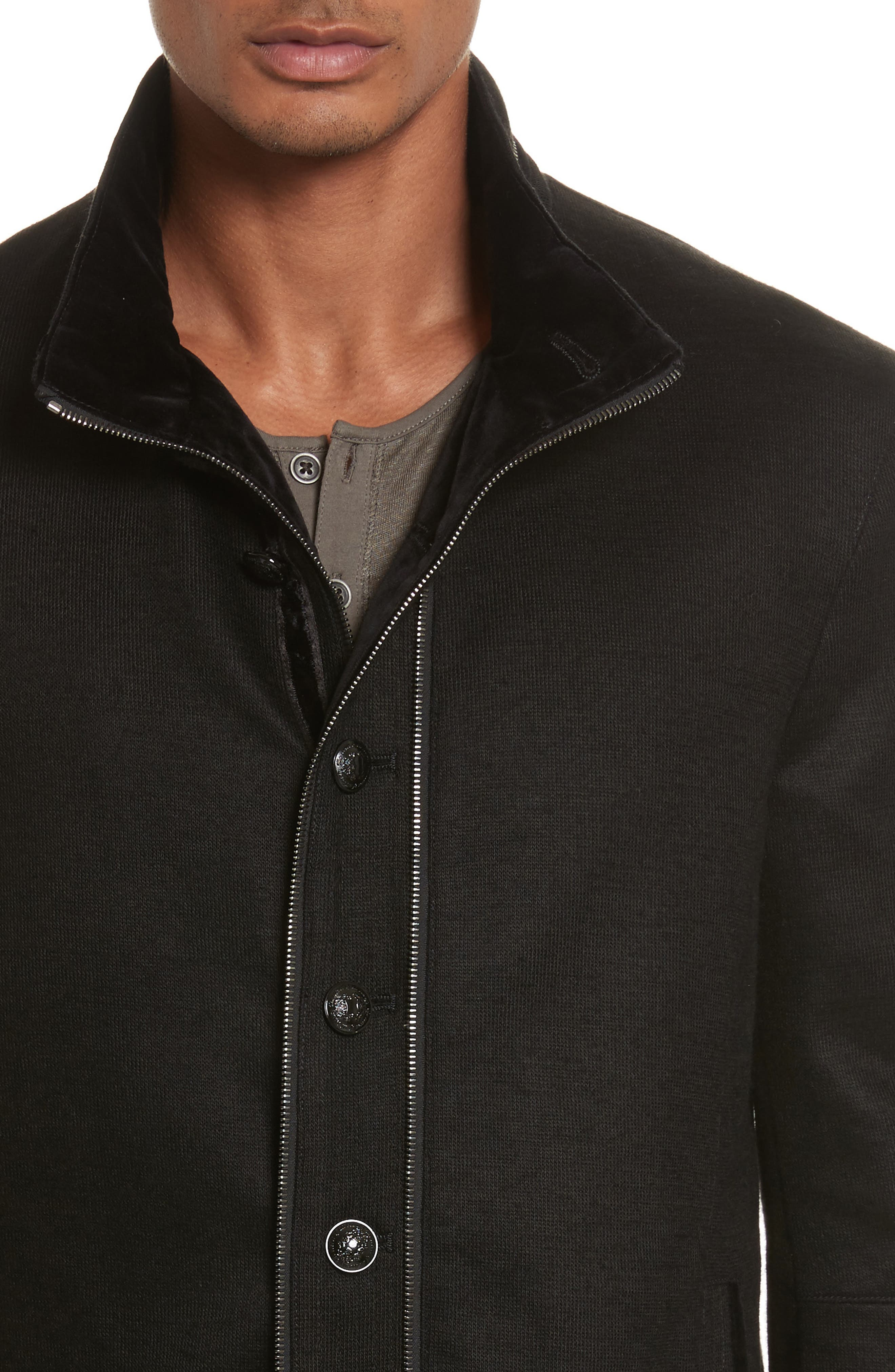 Cotton & Wool Jacket,                             Alternate thumbnail 4, color,                             Black