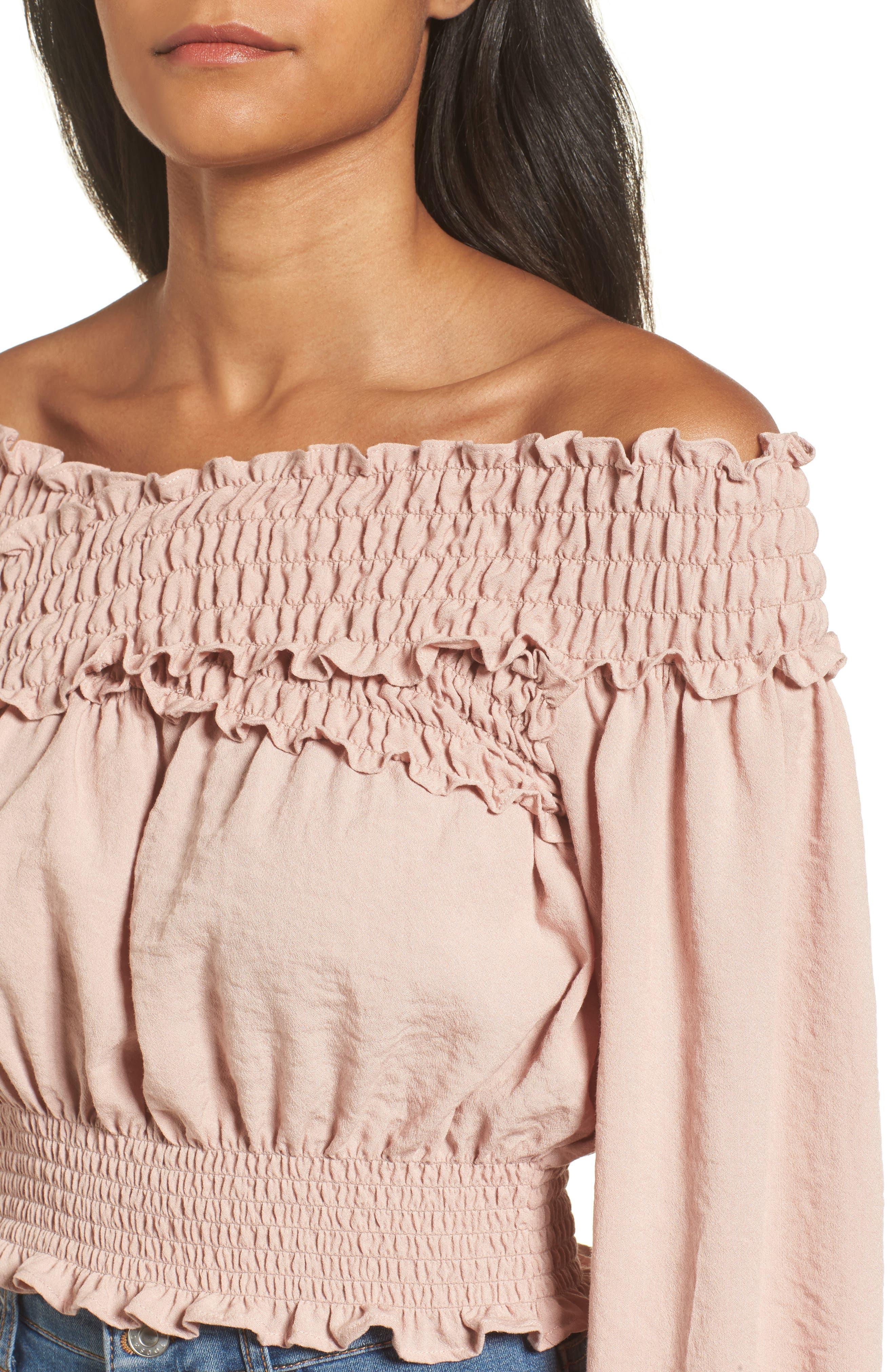 Delany Off the Shoulder Crop Top,                             Alternate thumbnail 4, color,                             Primrose Pink