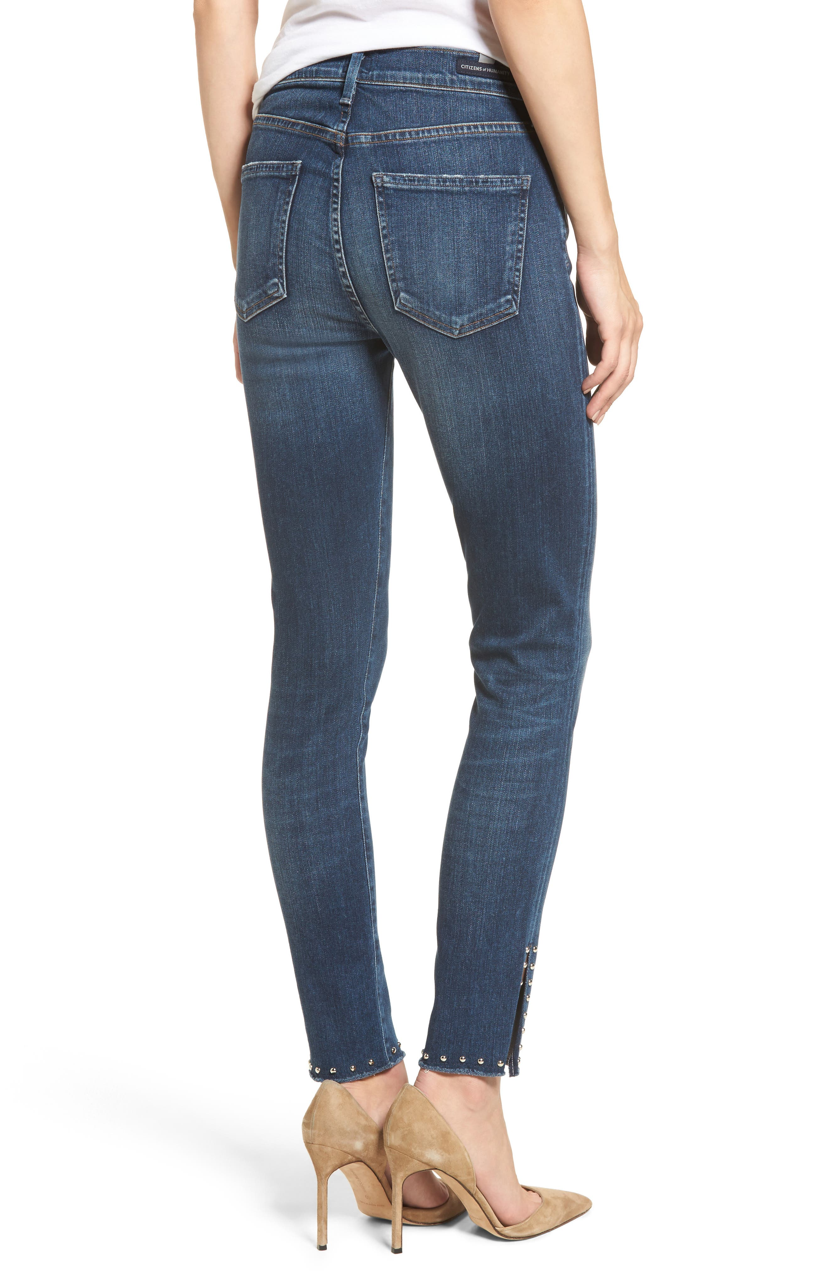 Rocket Split Hem Ankle Skinny Jeans,                             Alternate thumbnail 2, color,                             Studded Ventana