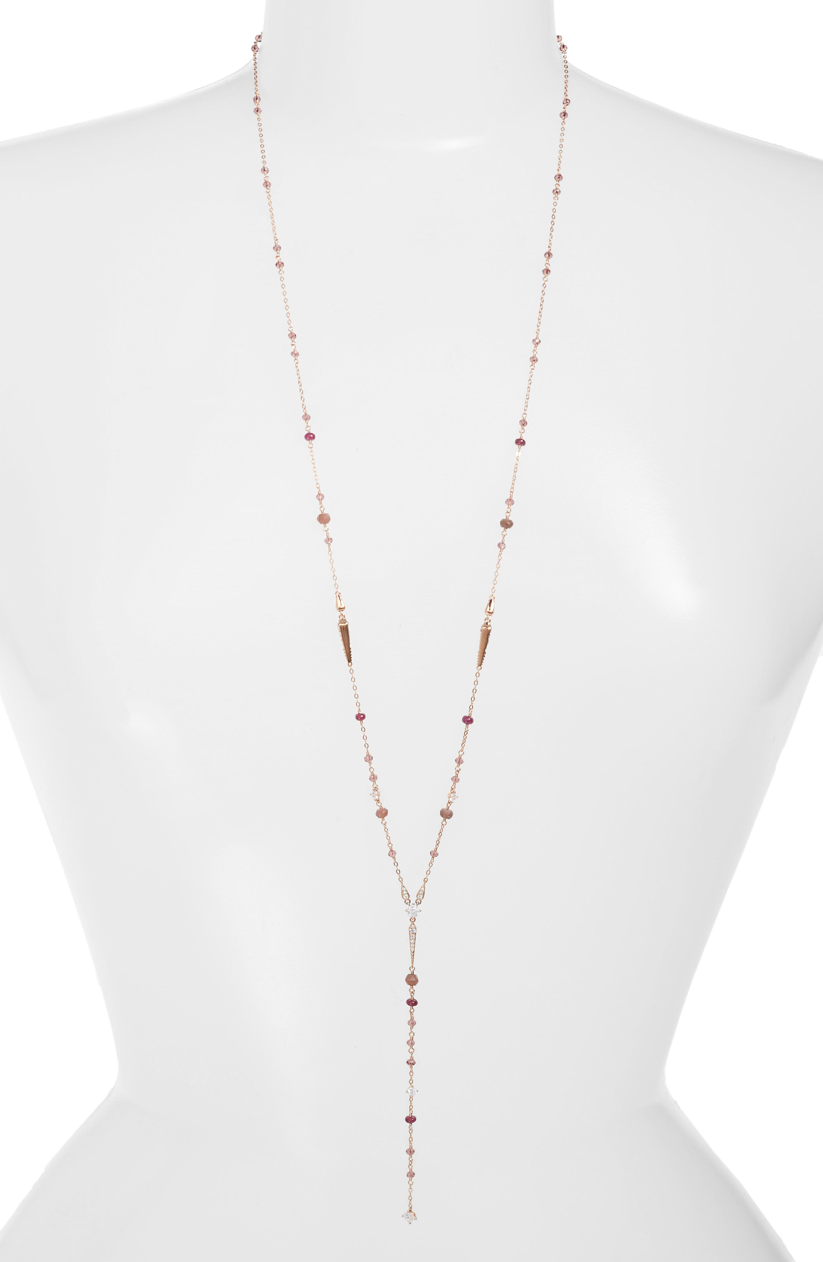 Crystal & Stone Y-Necklace,                         Main,                         color, Ruby/ Choco/ Pink
