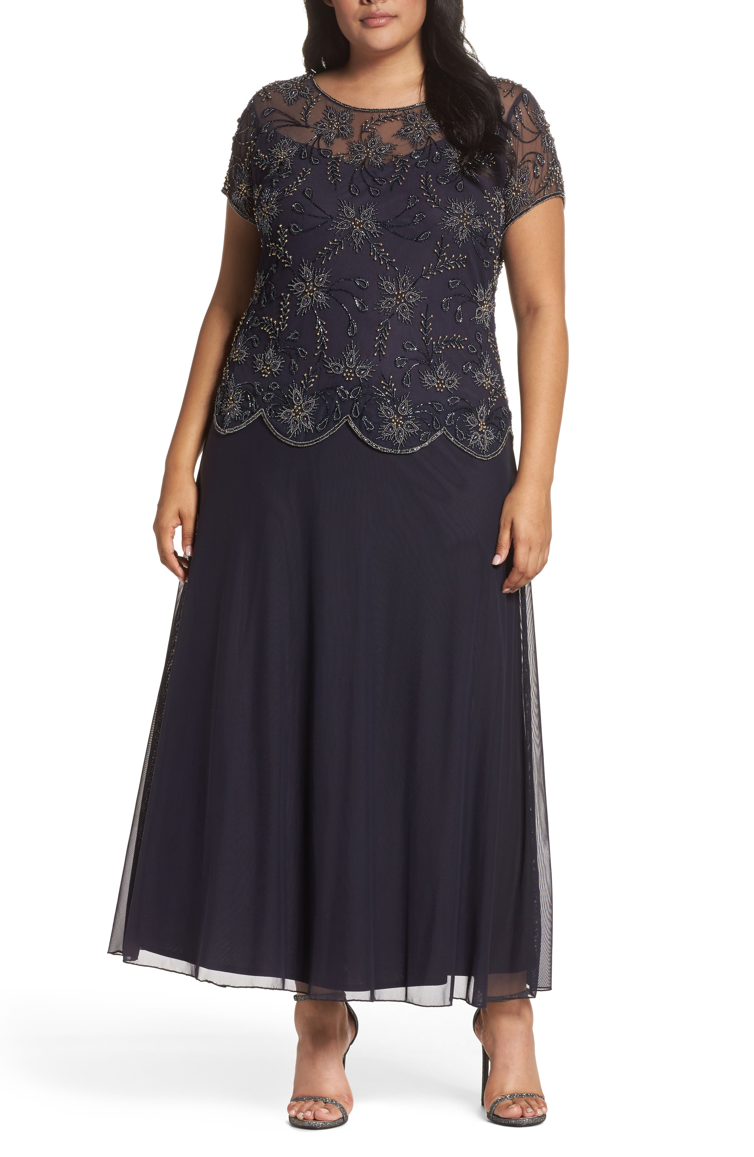 Alternate Image 1 Selected - Pisarro Nights Embellished Mock Two-Piece Maxi Dress (Plus Size)