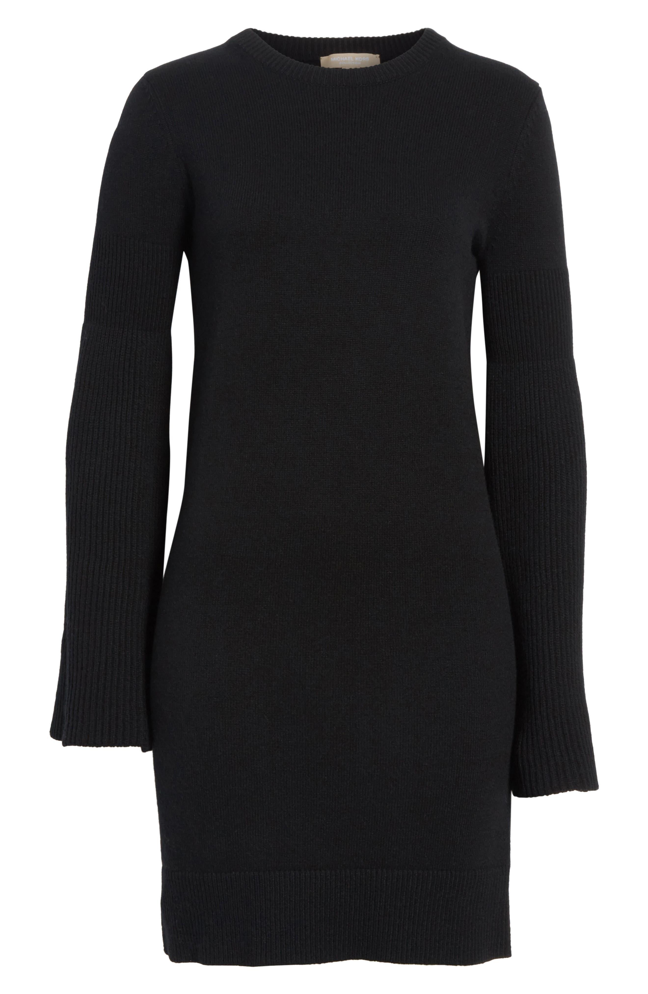 Cashmere Blend Bell Sleeve Dress,                             Alternate thumbnail 7, color,                             Black