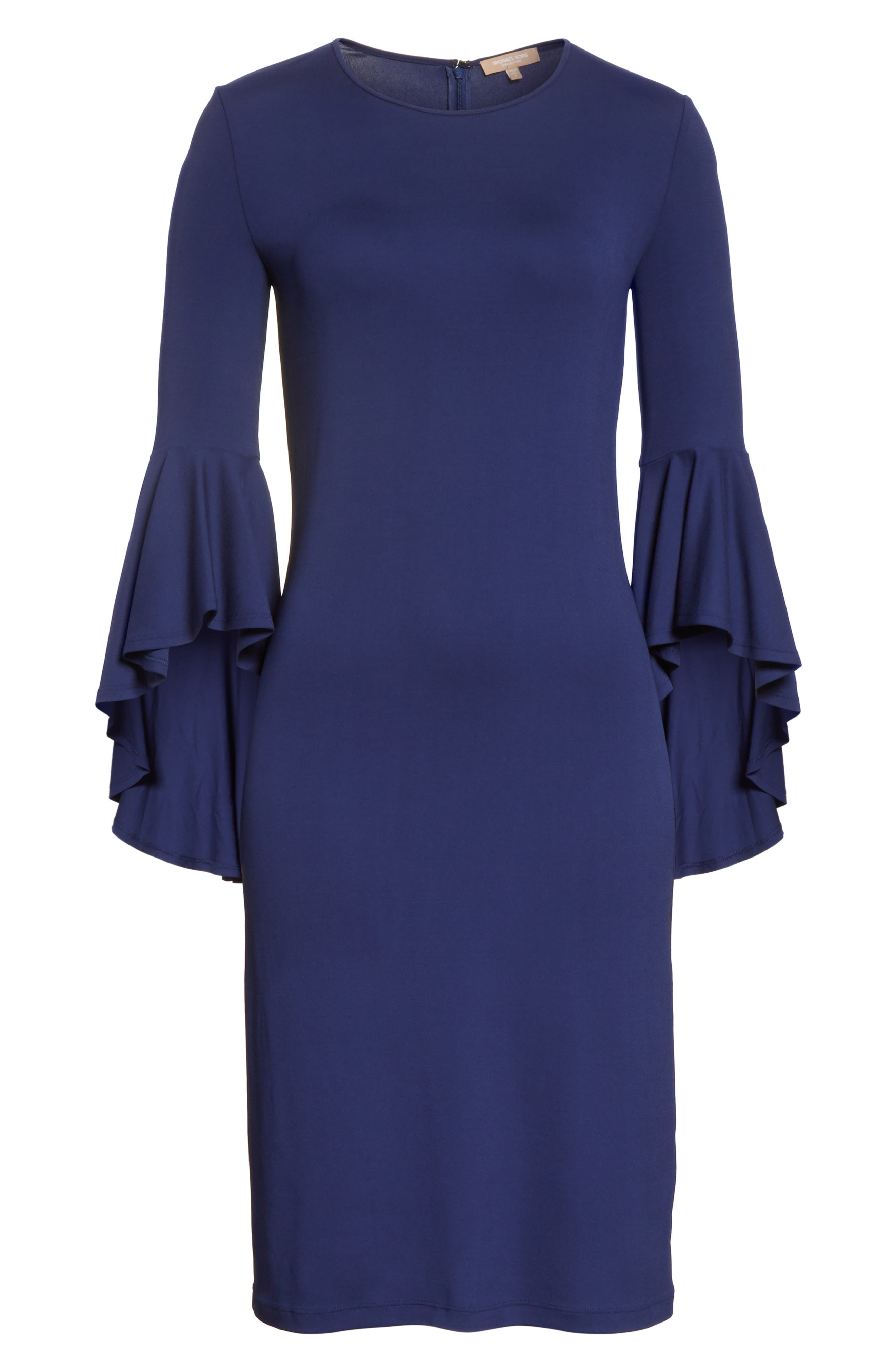 Cascade Sleeve Sheath Dress,                             Alternate thumbnail 7, color,                             Sapphire