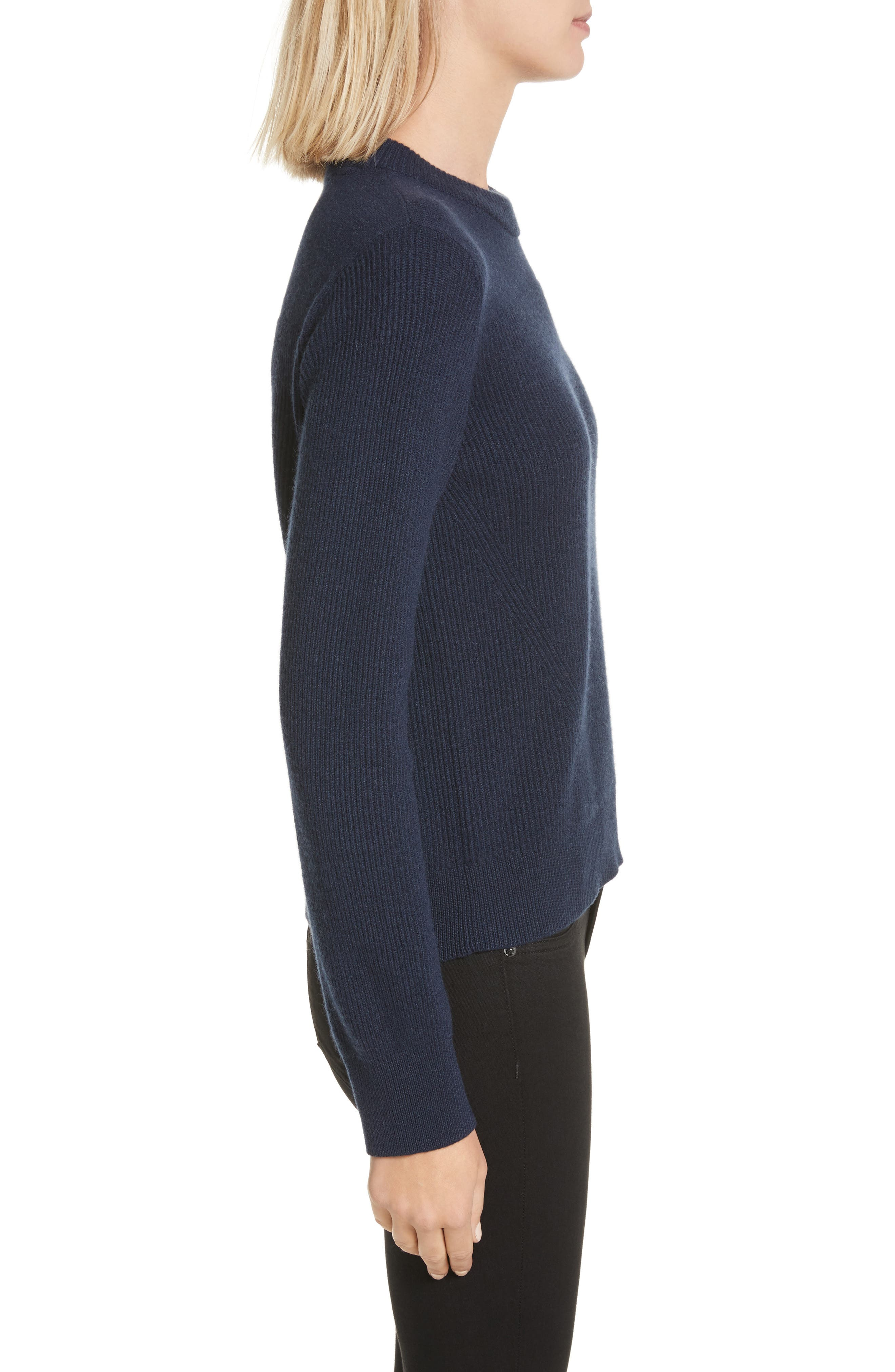 Ace Cashmere Crop Sweater,                             Alternate thumbnail 3, color,                             Navy