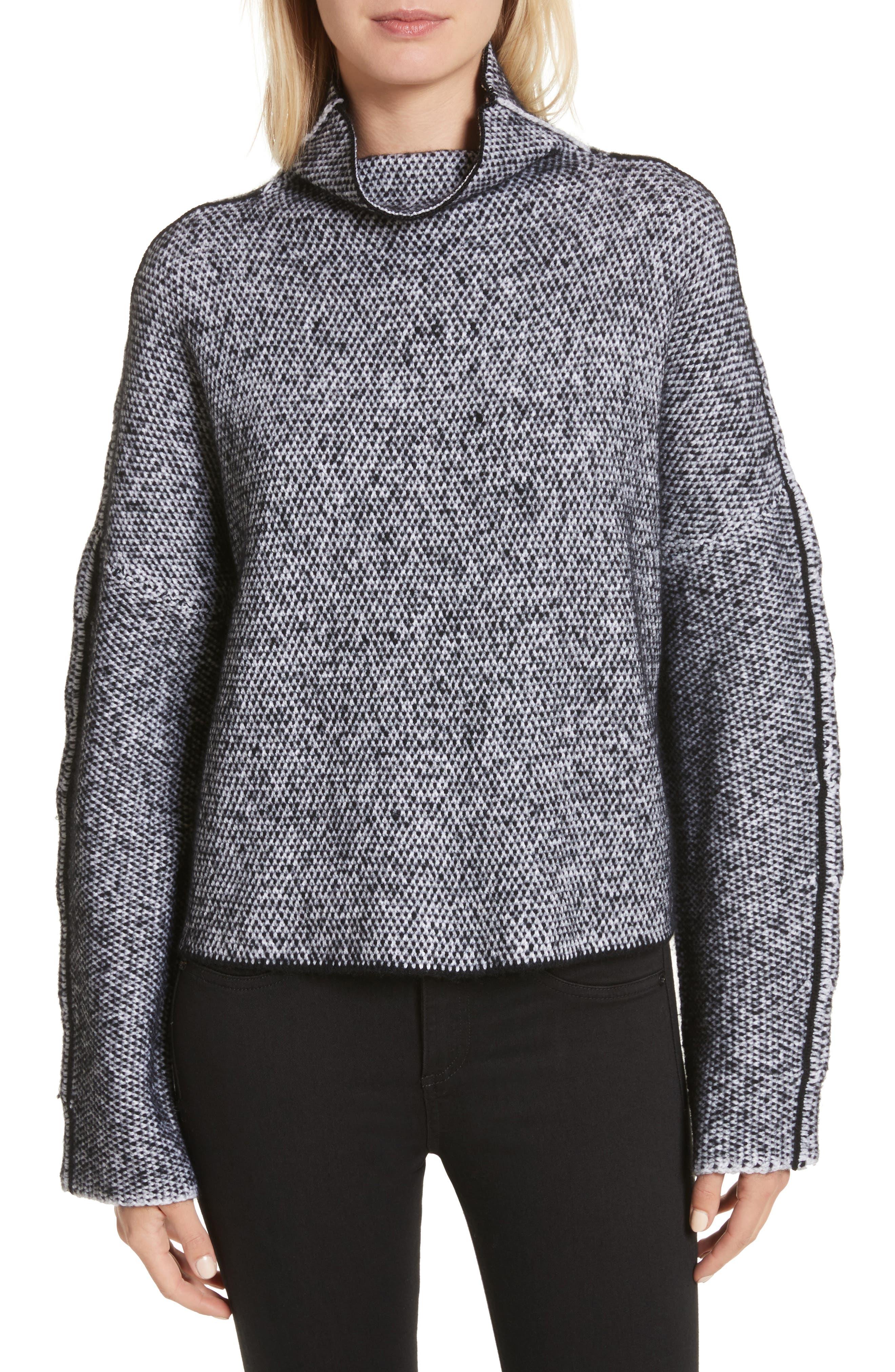 Robin Merino Wool Blend Sweater,                         Main,                         color, Black/White