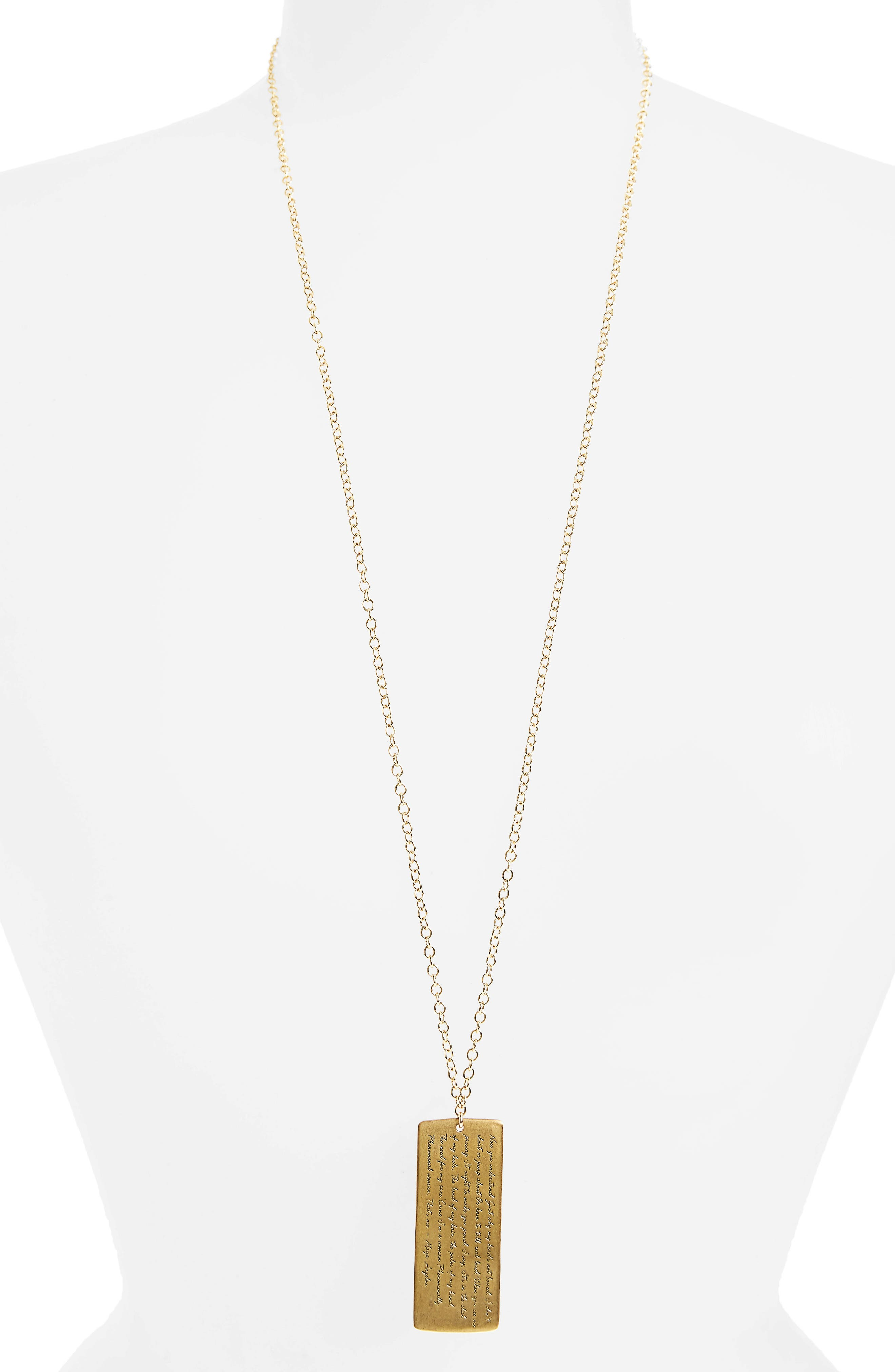 Legacy Collection - Phenomenal Women Large Tag Necklace,                             Alternate thumbnail 3, color,                             Gold