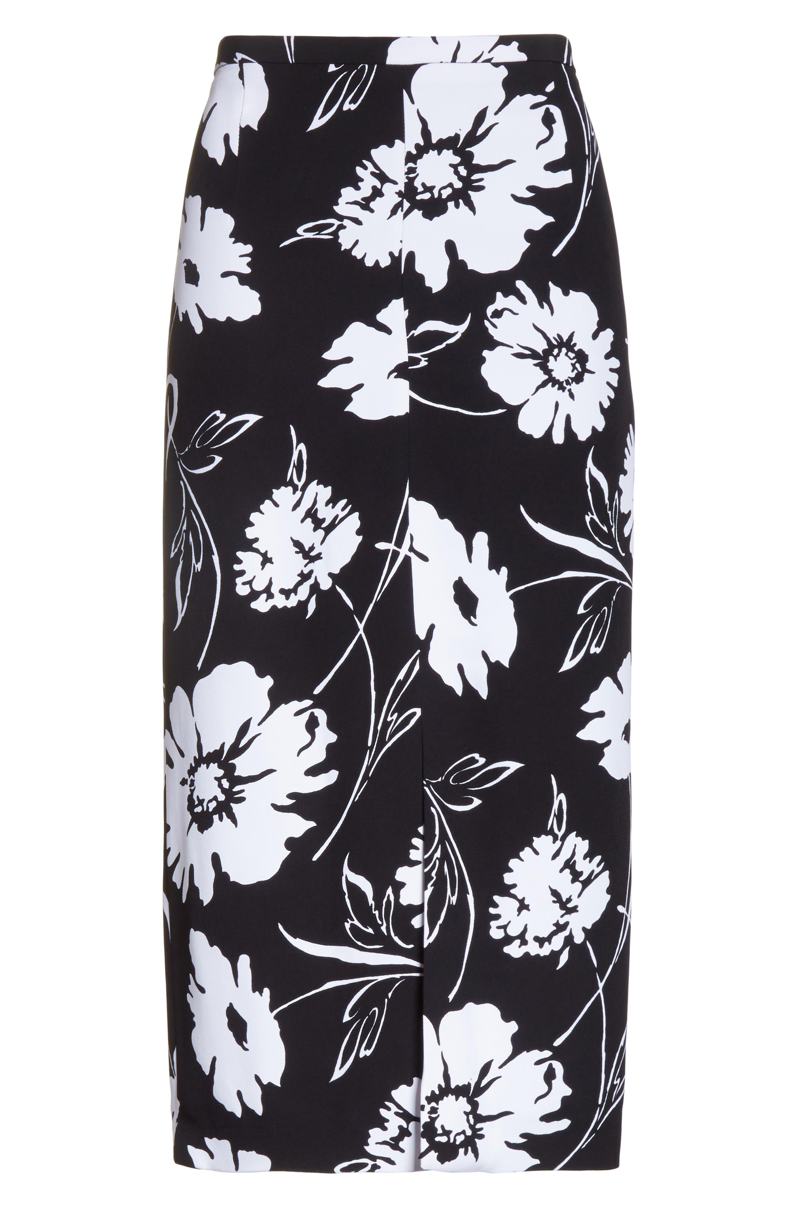 Floral Print Pencil Skirt,                             Alternate thumbnail 6, color,                             Black / White
