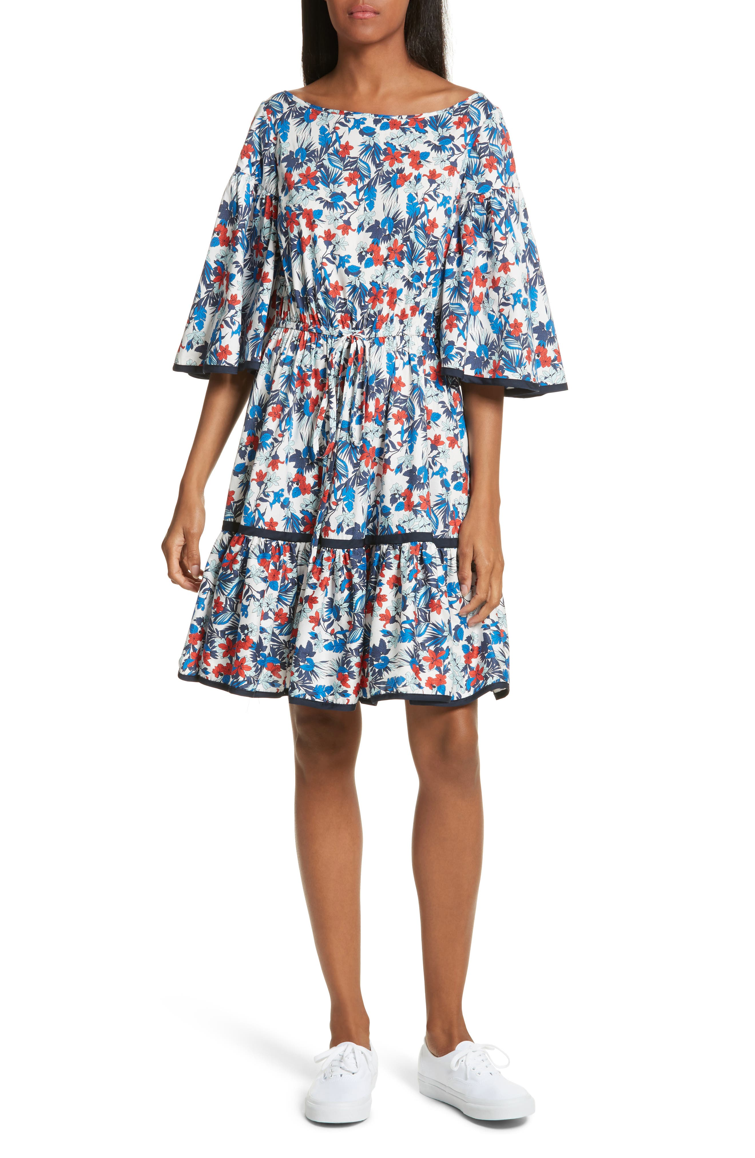 Hibiscus Print Fit & Flare Dress,                         Main,                         color, Blue Multi