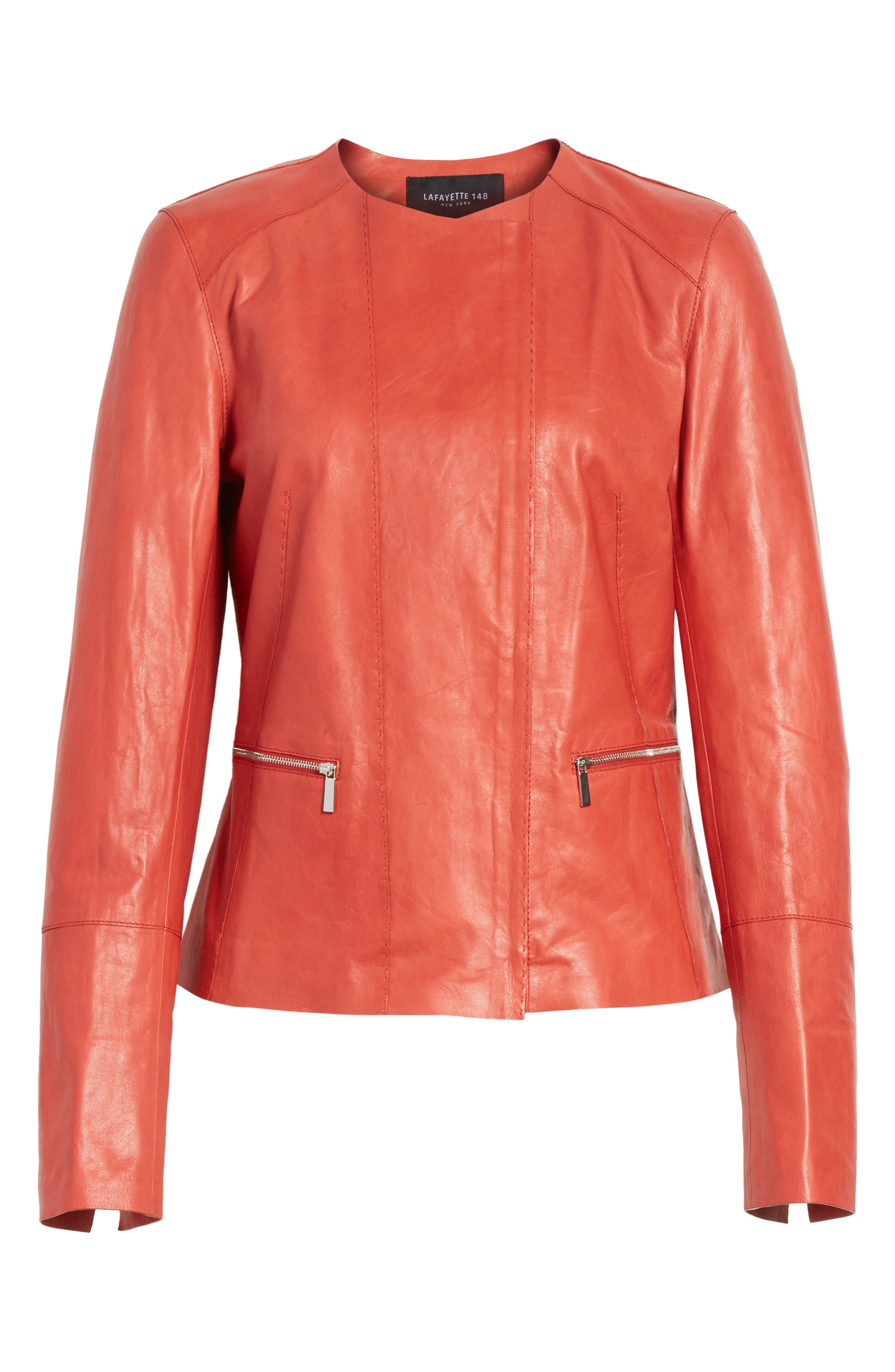 Alternate Image 6  - Lafayette 148 New York Caridee Glazed Lambskin Leather Jacket