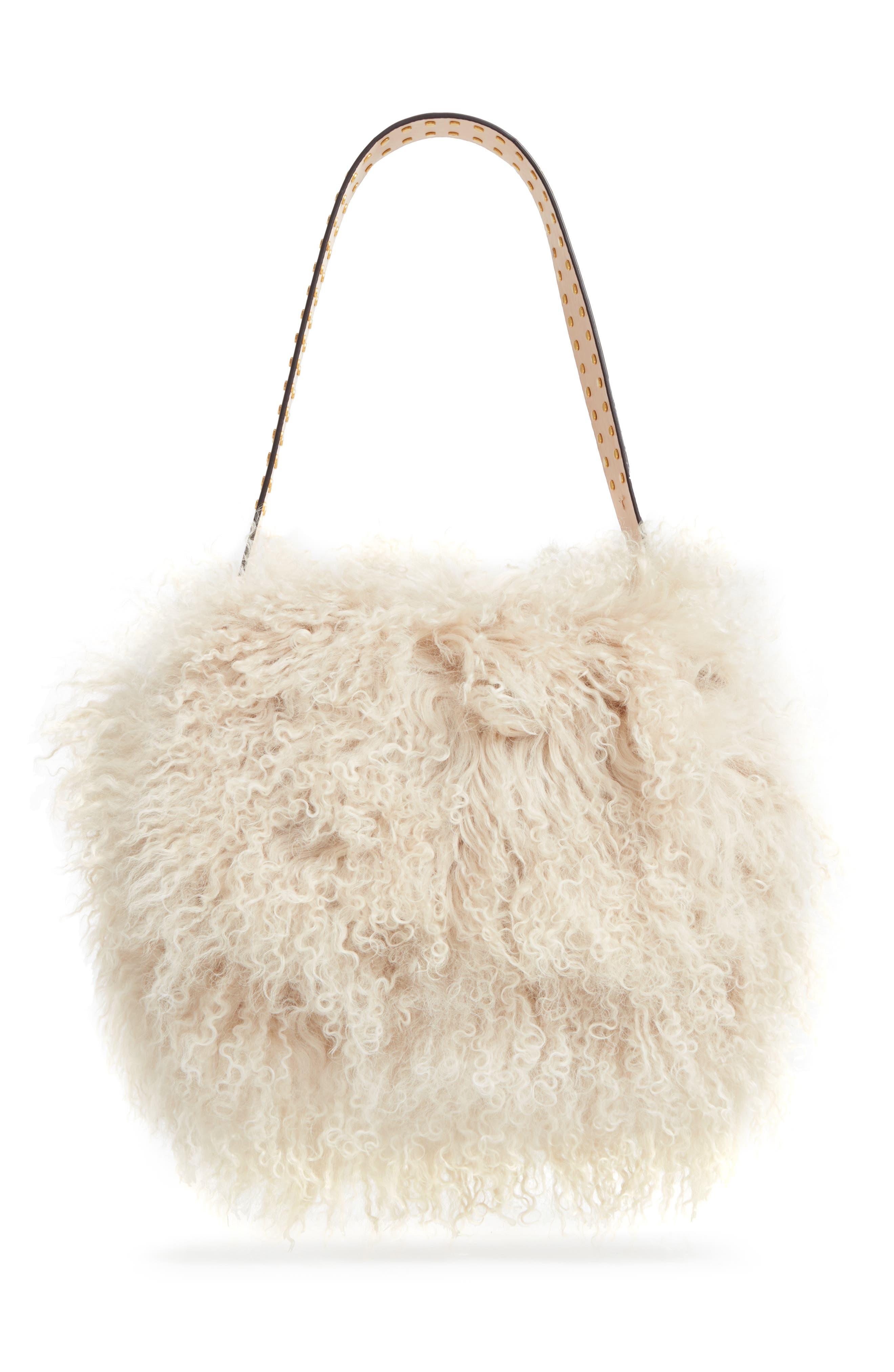 Sawyer Genuine Shearling Shoulder Bag,                         Main,                         color, Neutral