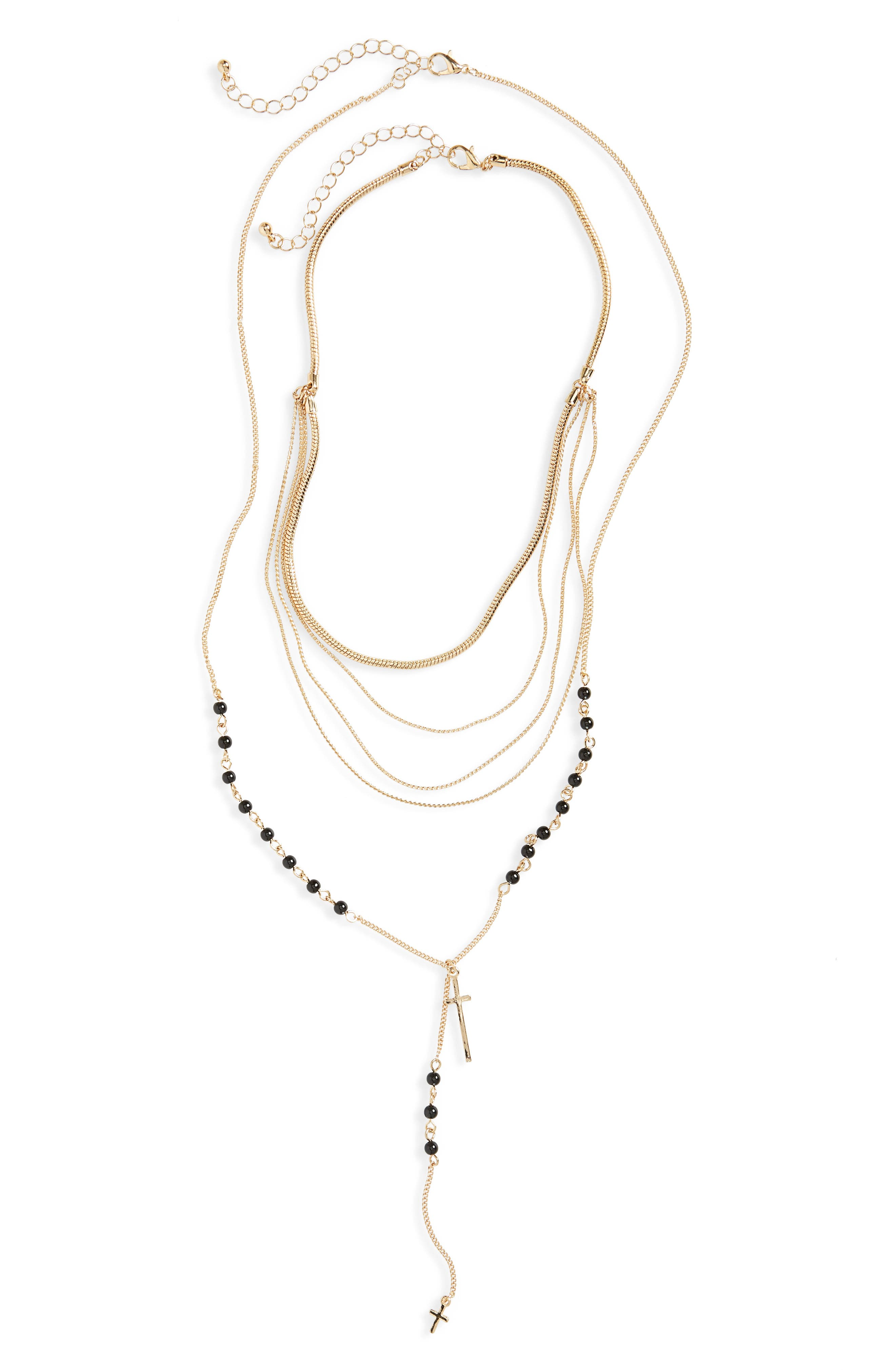 2-Pack Layered Rosary Necklaces,                         Main,                         color, Gold/ Black