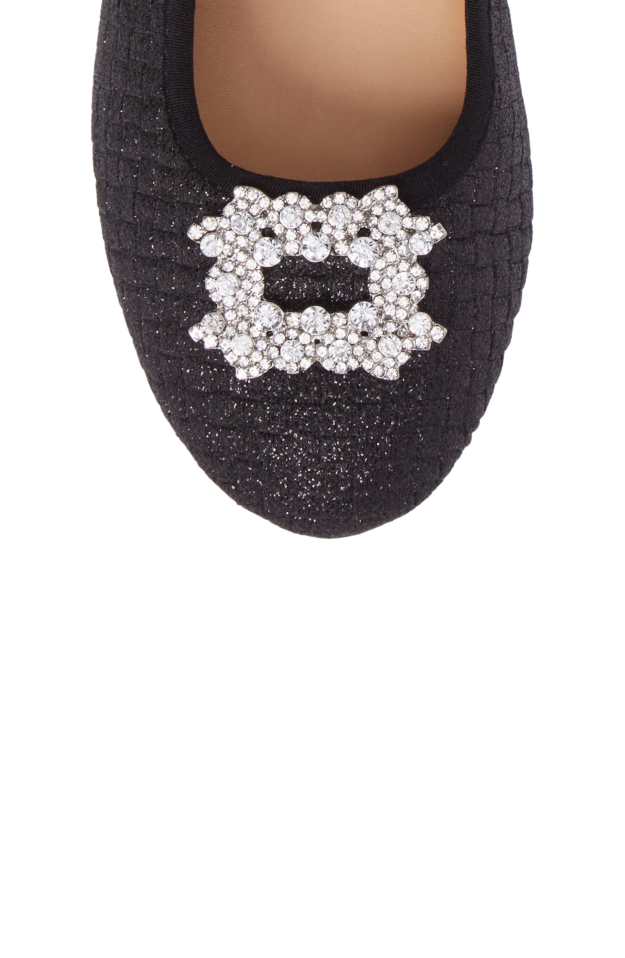 Amber Nidia Embellished Glitter Flat,                             Alternate thumbnail 5, color,                             Black Shimmer