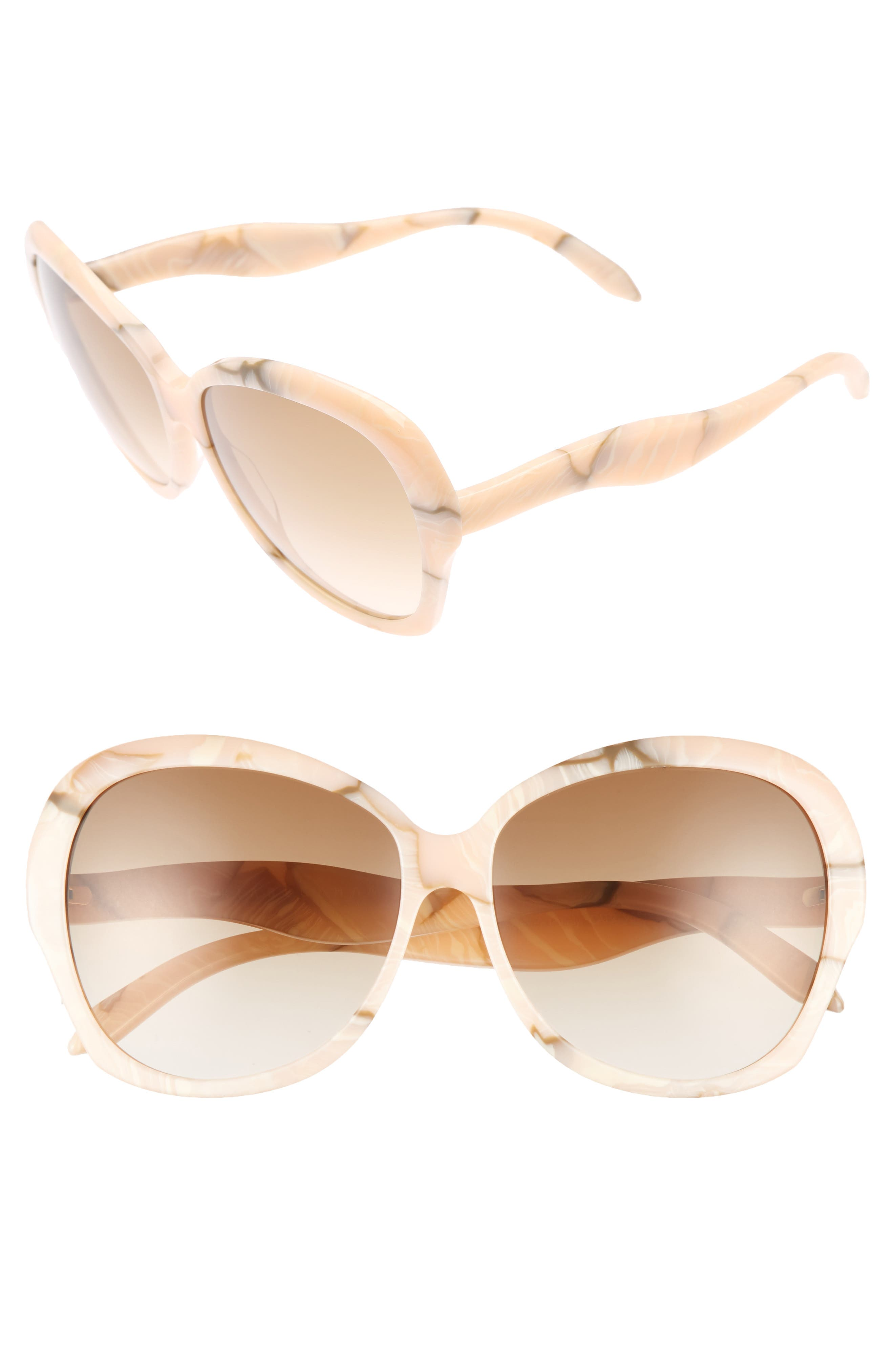 Happy 60mm Butterfly Sunglasses,                         Main,                         color, Pink Marble