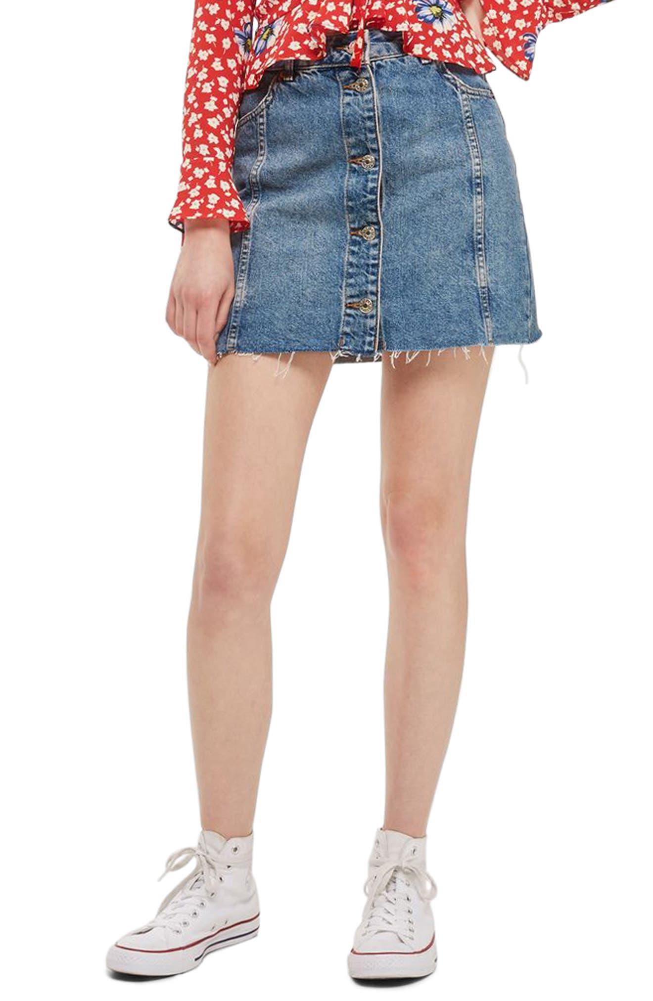 Button Denim Miniskirt,                         Main,                         color, Mid Denim