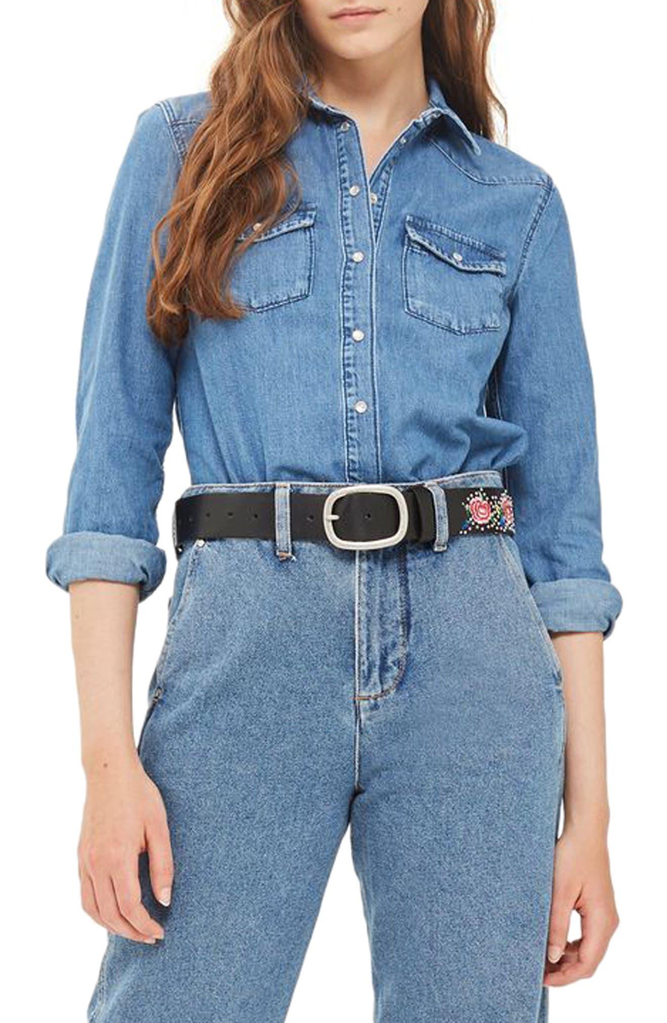 Alternate Image 2  - Topshop Western Denim Shirt (Petite)